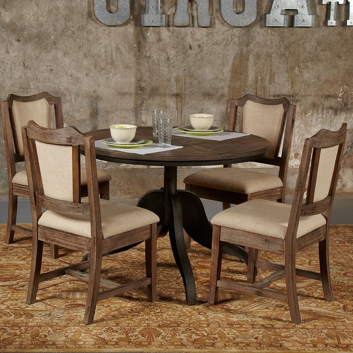 Brooklyn Round Adjule Height Steel Oak Dining Table Multi Free Shipping Today 17039837