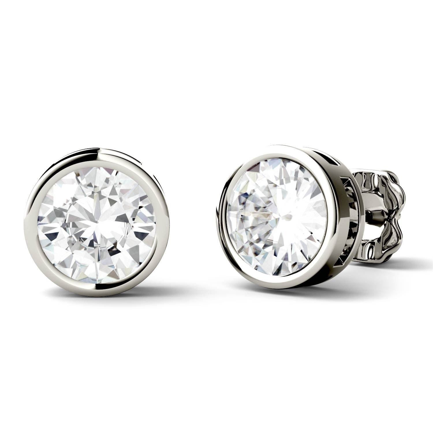 stud image dwt diamond platinum one moissanite forever round charles colvard earrings
