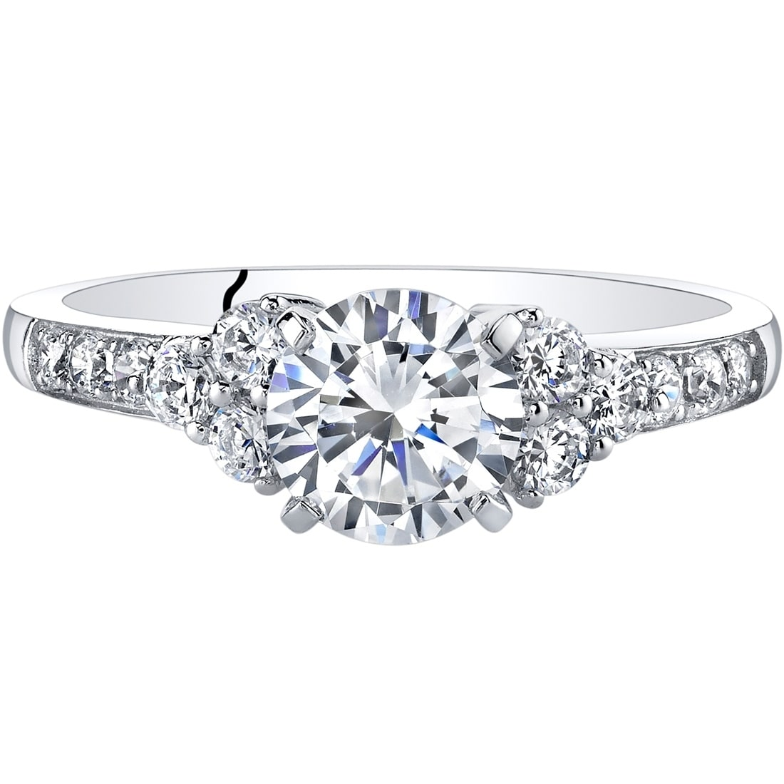 Oravo 14K White Gold Classic Style Engagement Ring Free Shipping