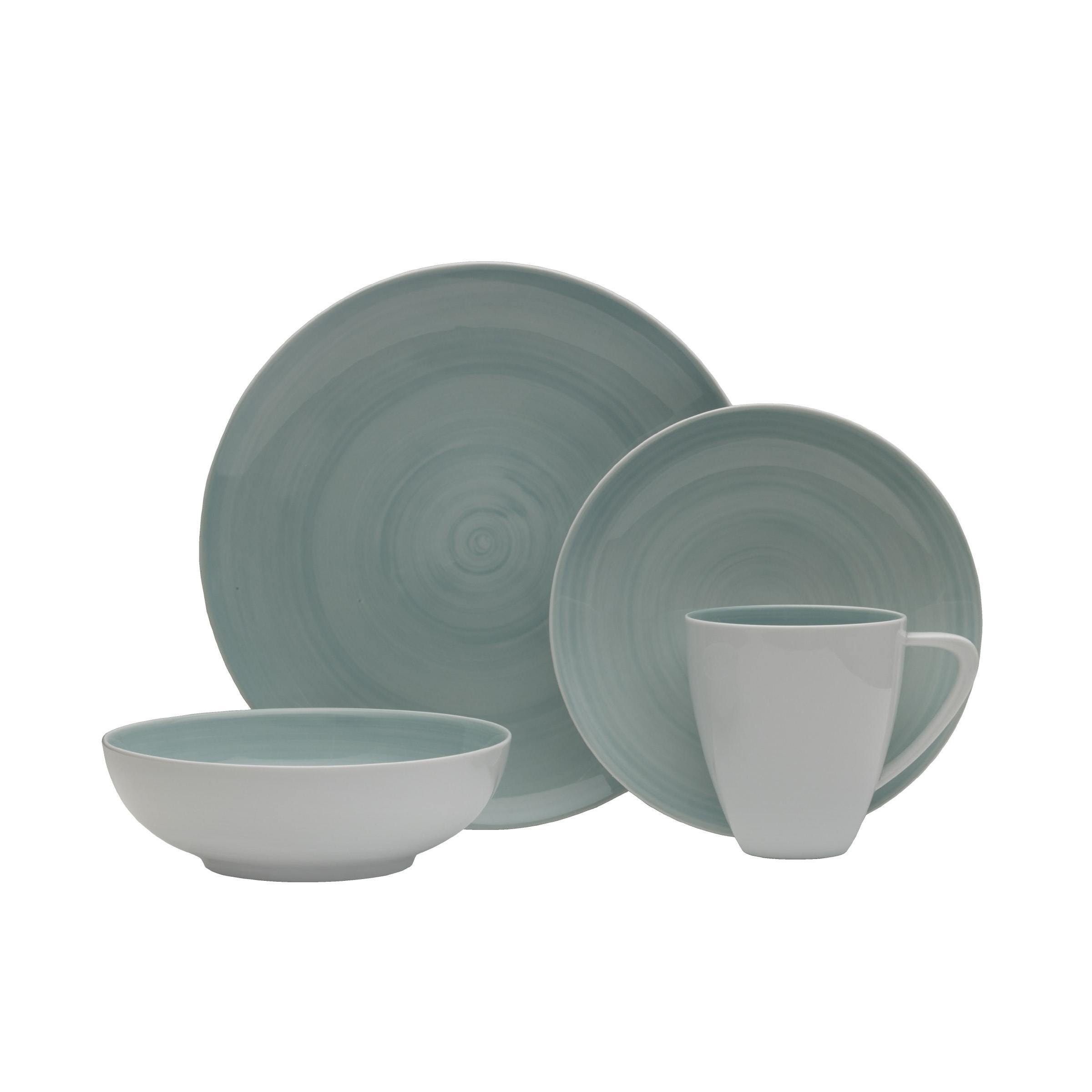 Savona 16pc Dinnerware Set Porcelain Teal - Free Shipping Today - Overstock - 23351361  sc 1 st  Overstock.com & Savona 16pc Dinnerware Set Porcelain Teal - Free Shipping Today ...