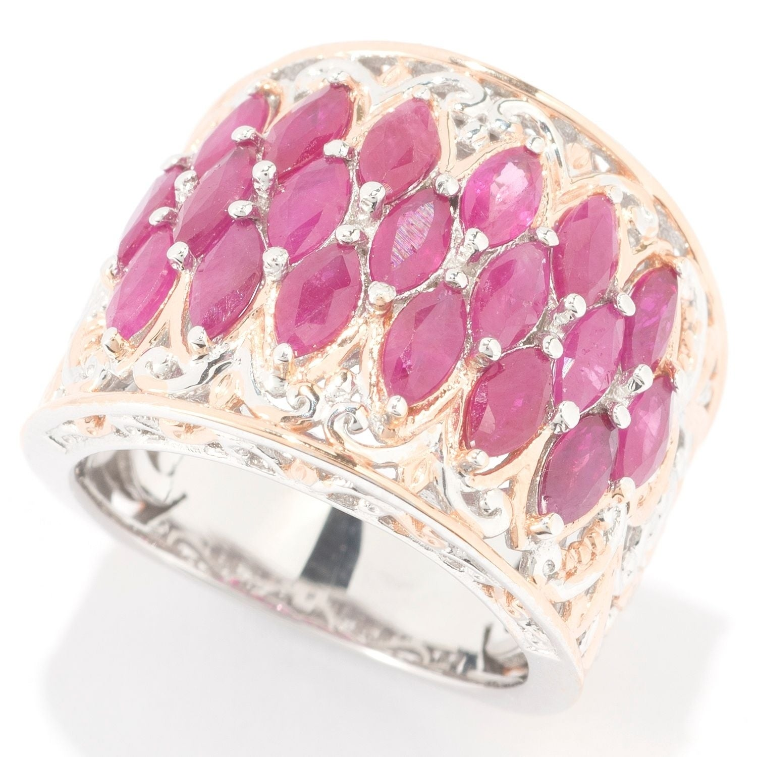 Michael Valitutti Palladium Silver Marquise Ruby Cluster Band Ring ...