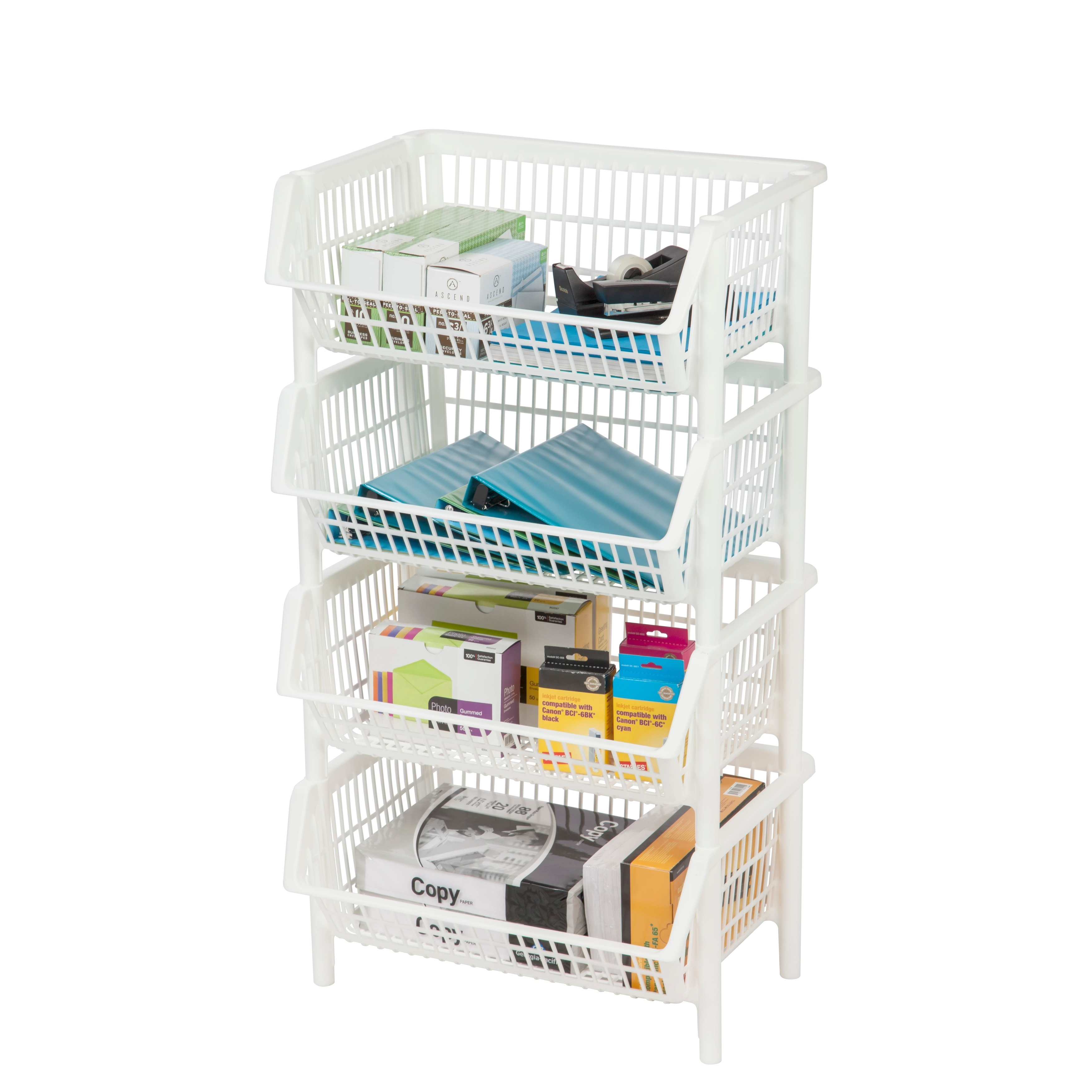 Shop IRIS White Jumbo Stacking Basket (Pack of 4) - Free Shipping On Orders Over $45 - Overstock.com - 17097280  sc 1 st  Overstock.com & Shop IRIS White Jumbo Stacking Basket (Pack of 4) - Free Shipping On ...