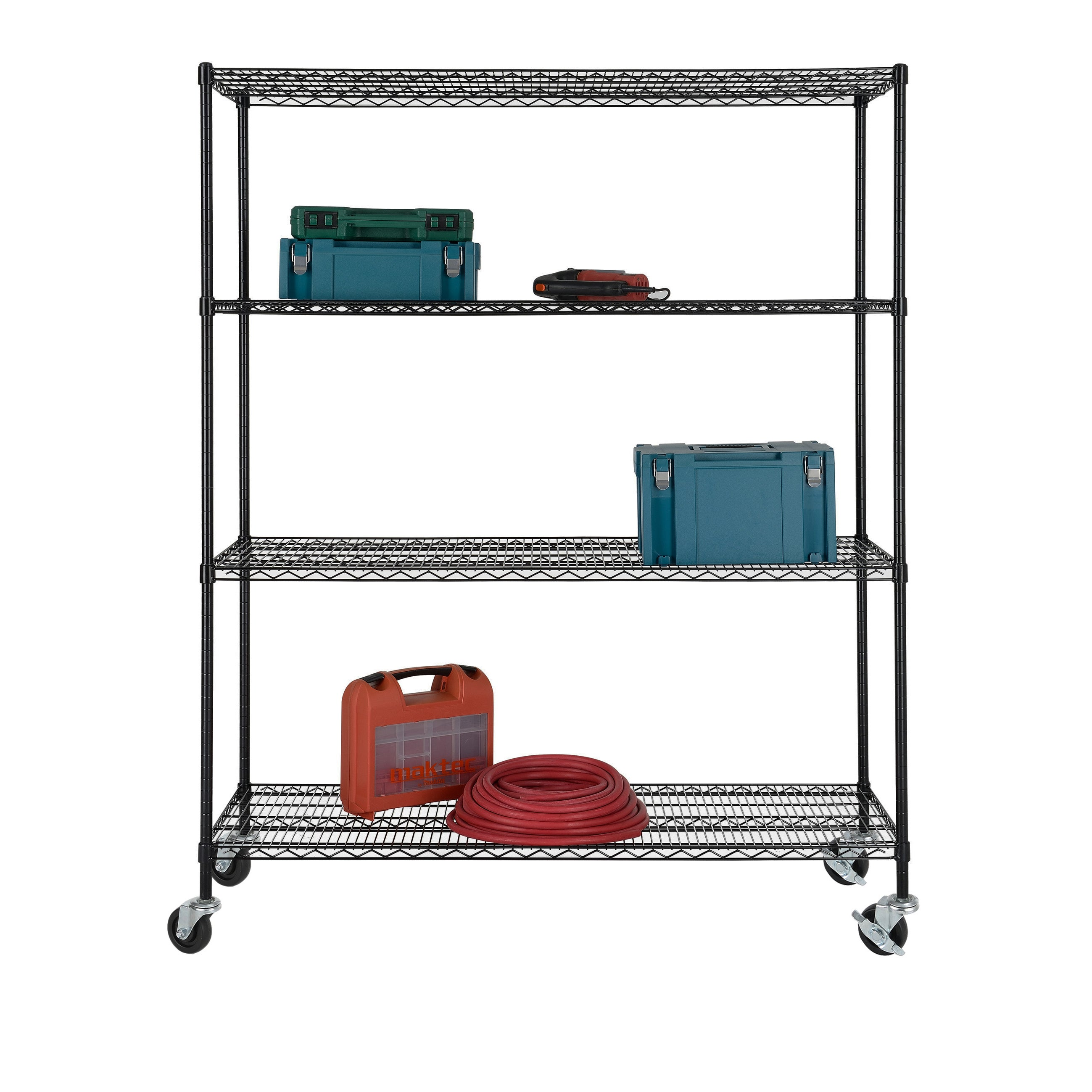 Excel NSF Multi-Purpose 4-Tier Wire Shelving Unit with Casters, 60 ...