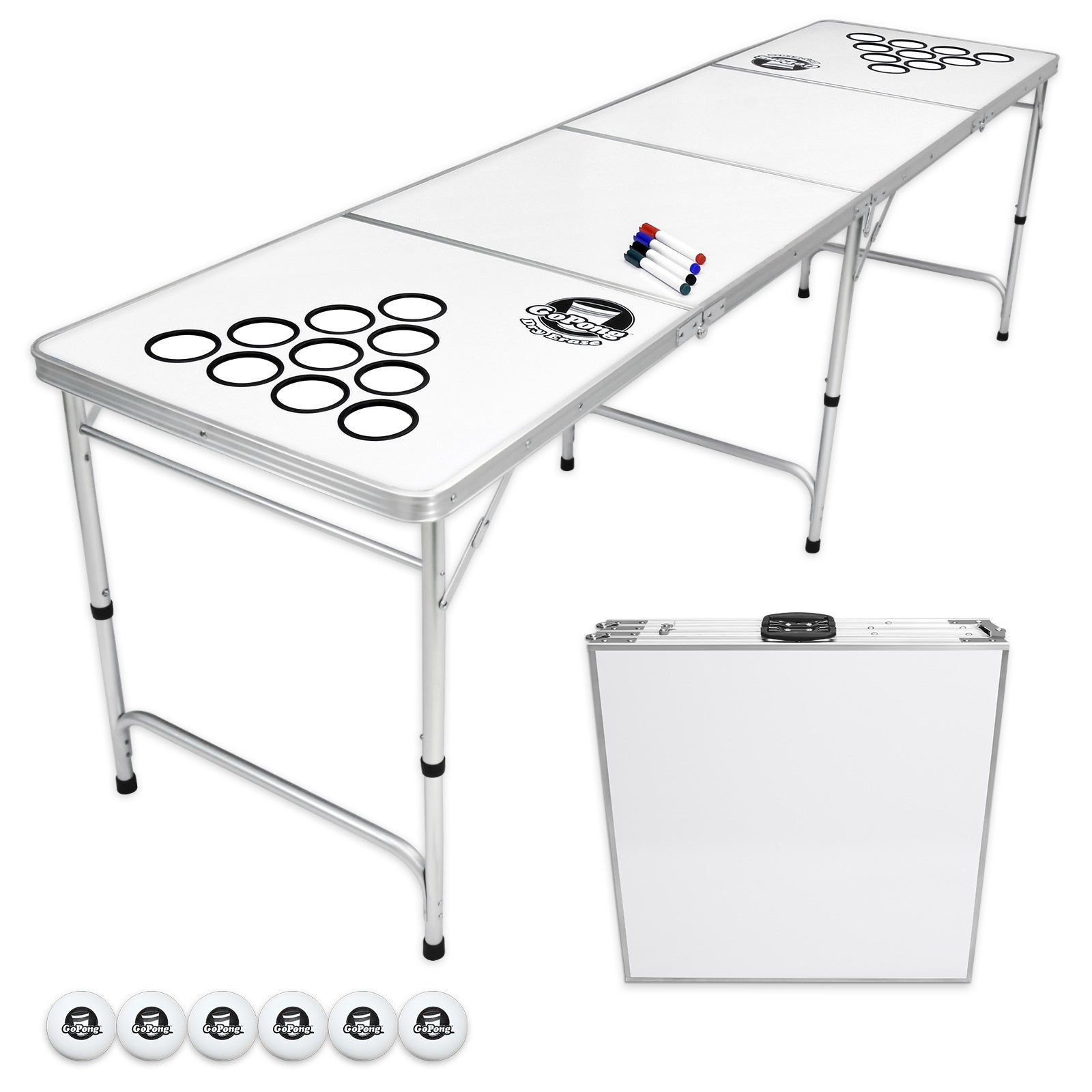 Gopong 8 Foot Folding Beer Pong Table With Customizable Dry Erase Surface