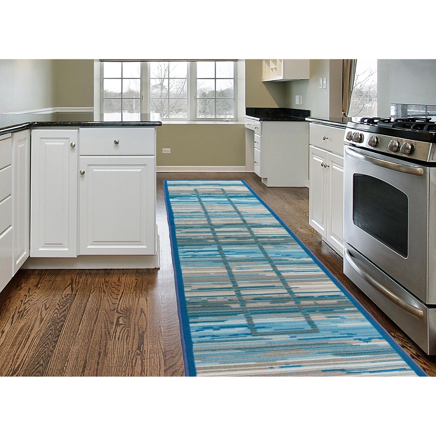 Shop Contemporary Striped Boxes Design Non-Slip Gray Runner Rug - 1 ...