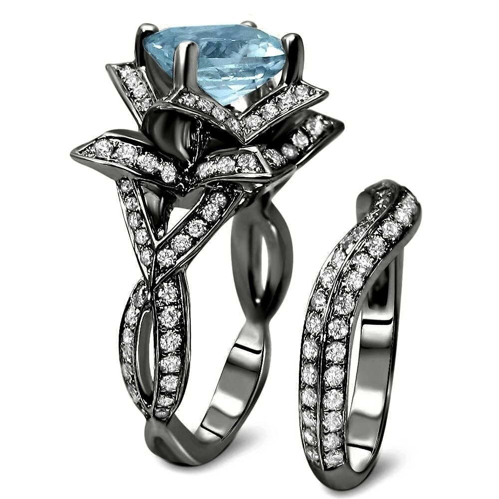 rings blooming cz sterling lotus flower engagement silver set ring