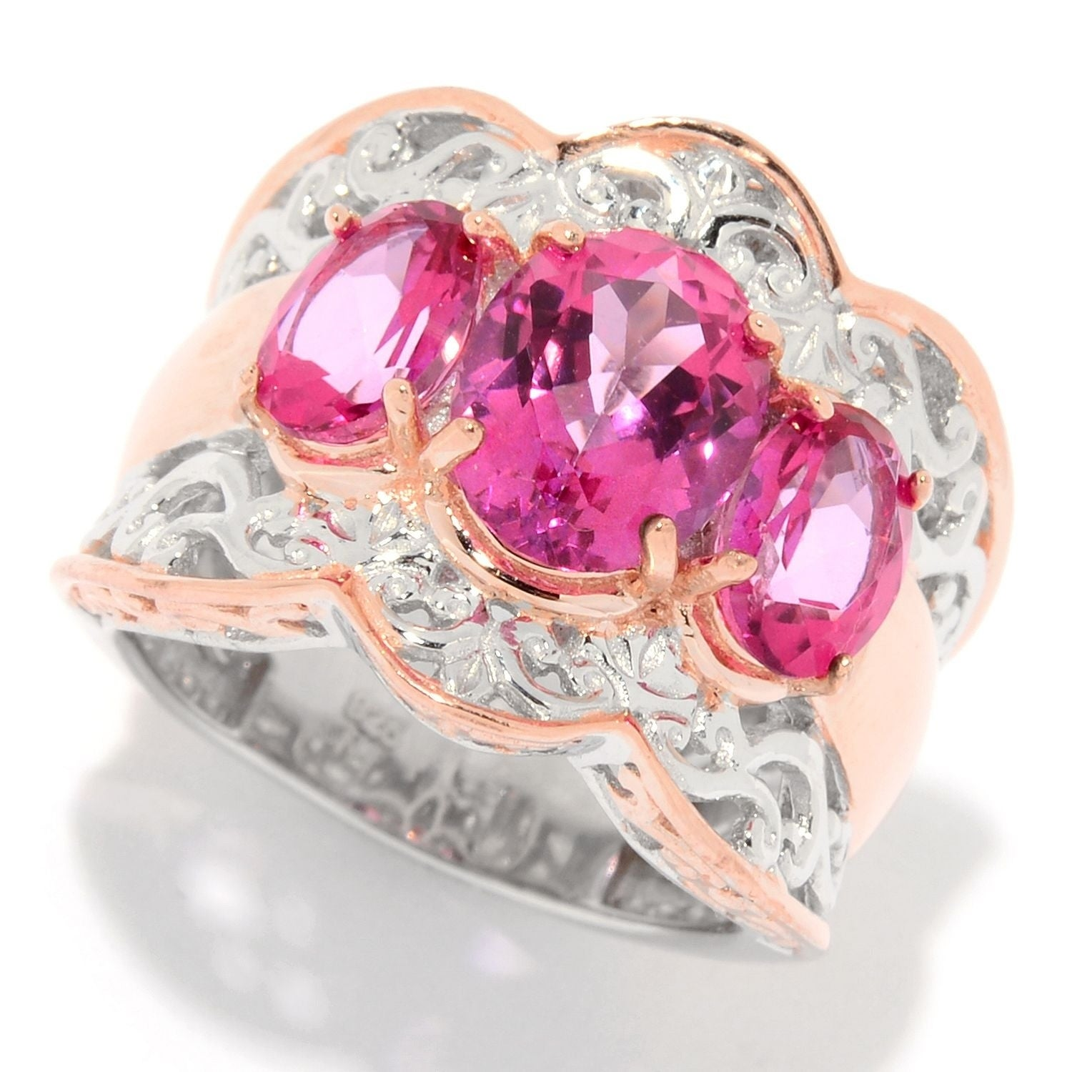 Shop Michael Valitutti Palladium Silver Pink Topaz Three-Stone ...