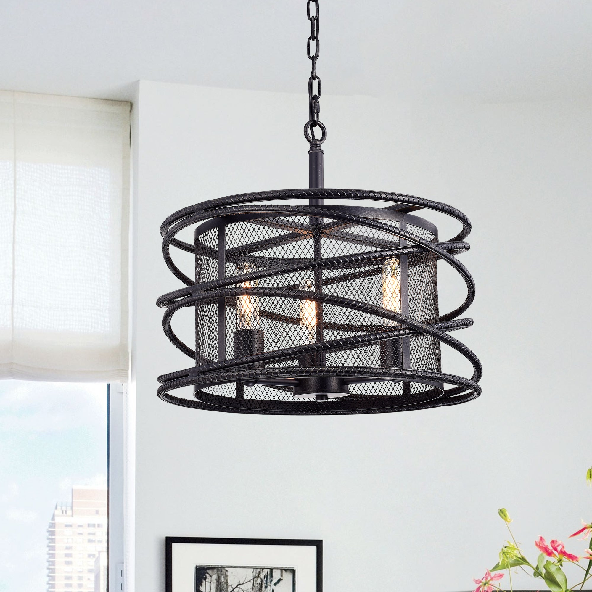 shop honoria antique black rebar layer and metal mesh drum shade