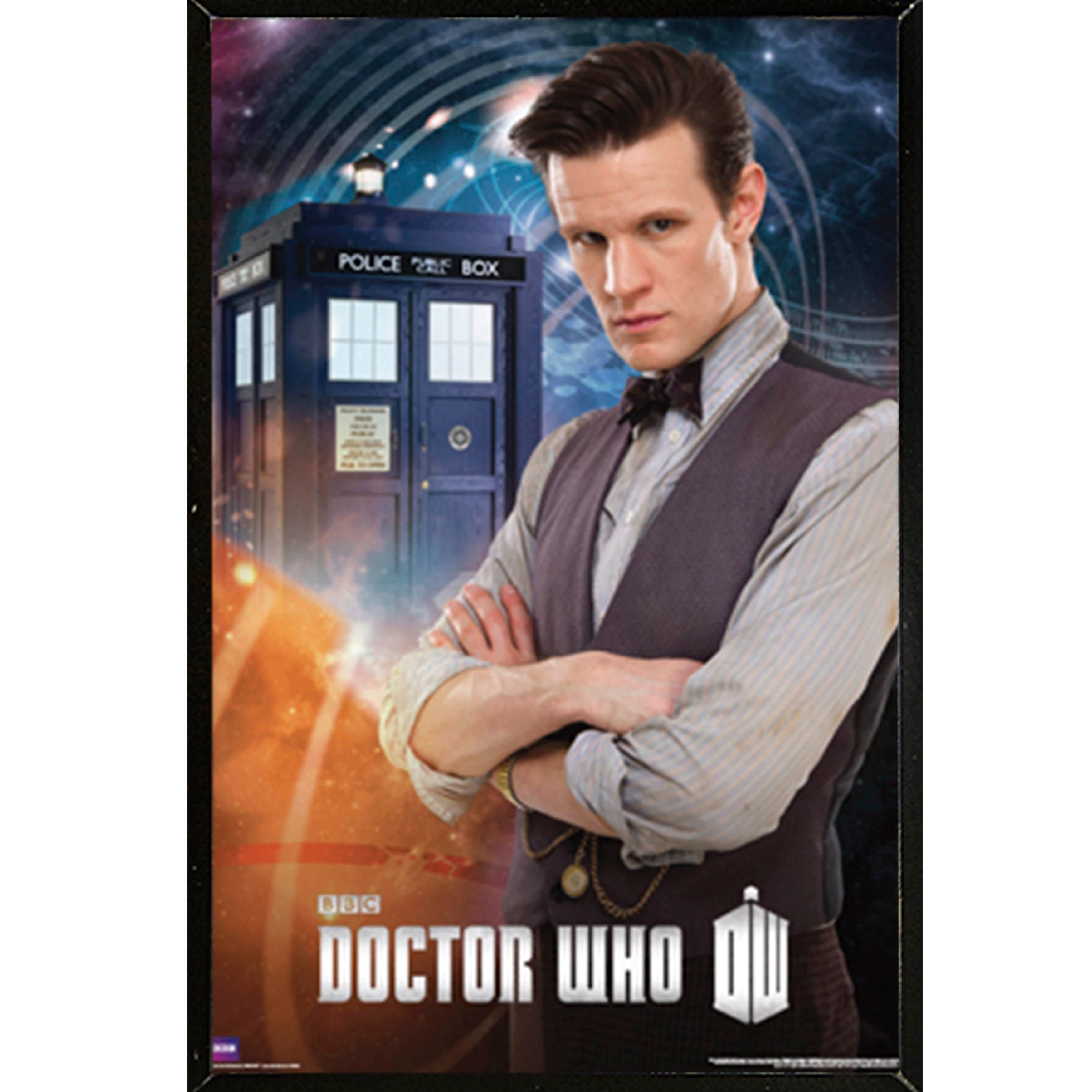 Shop Doctor Who Matt Smith 11th Poster With Choice Of Frame Fiction Blouse Obi Off White 24x36 Ships To Canada 17126413