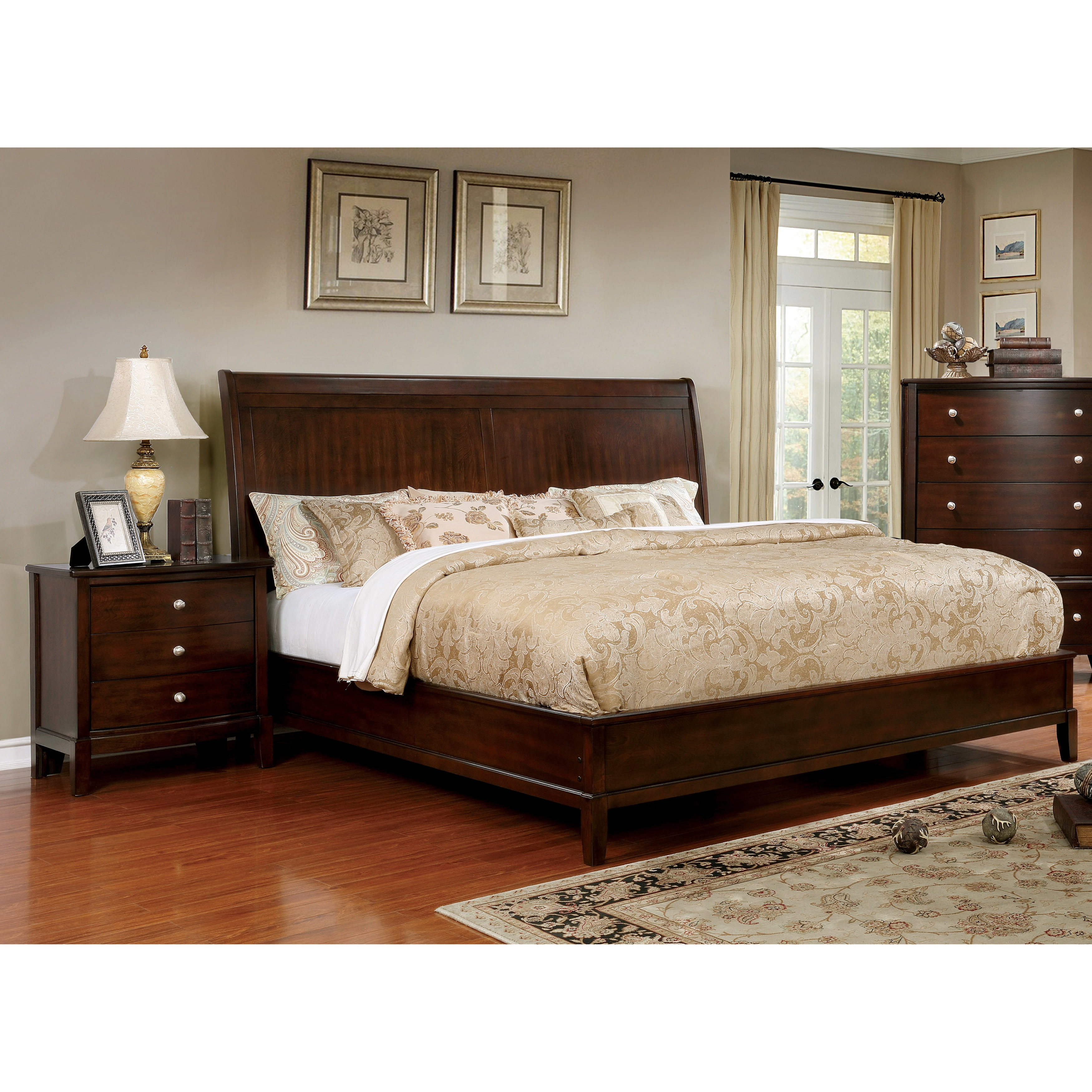 Shop furniture of america kami transitional 2 piece brown cherry bed and nightstand set on sale free shipping today overstock com 17127366