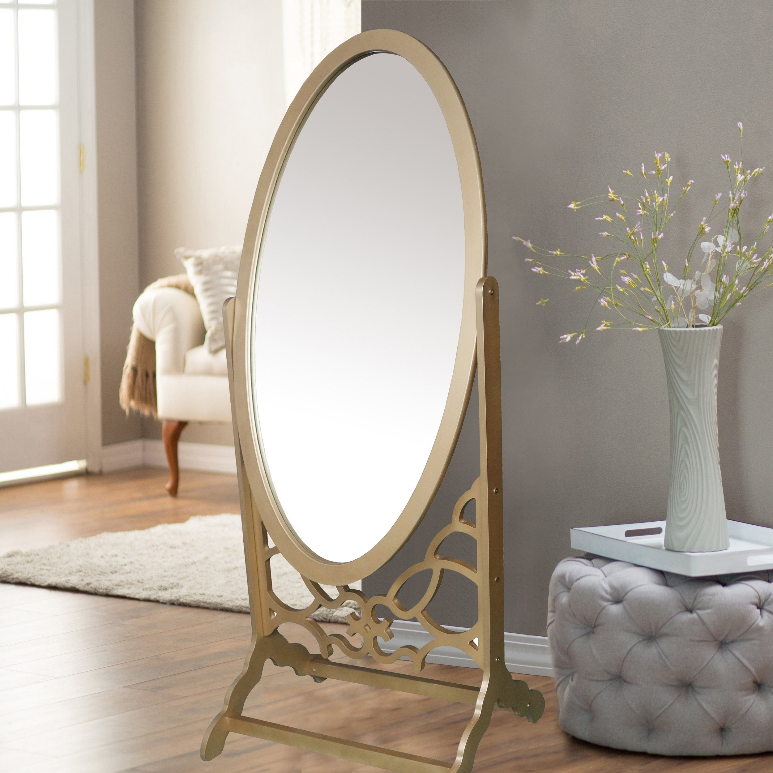 Shop chic home york mirror modern free standing spindle accent legs floor mirror on sale free shipping today overstock com 17127614