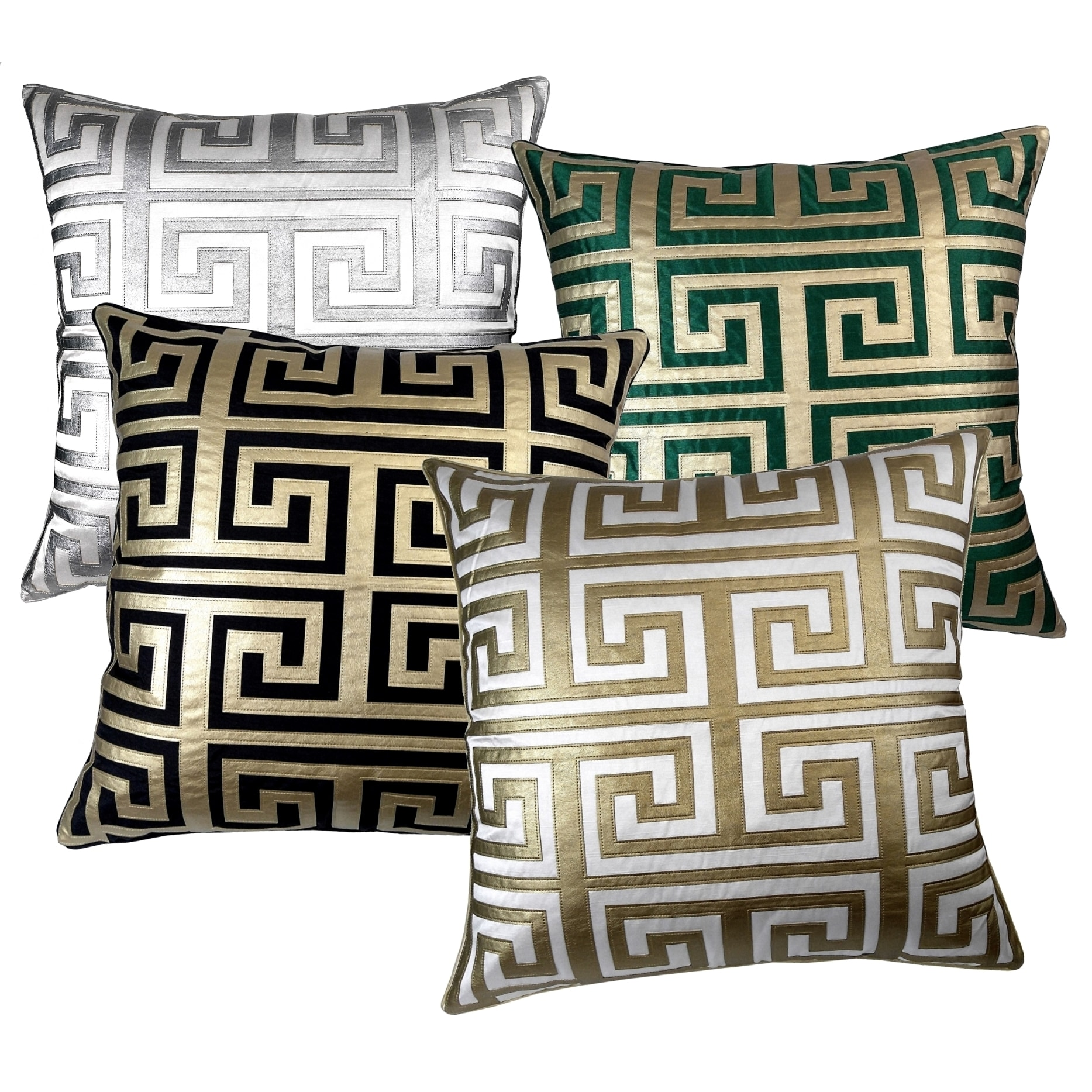 Greek Key 24 Inch Metallic Throw Pillow Free Shipping Today 17127993