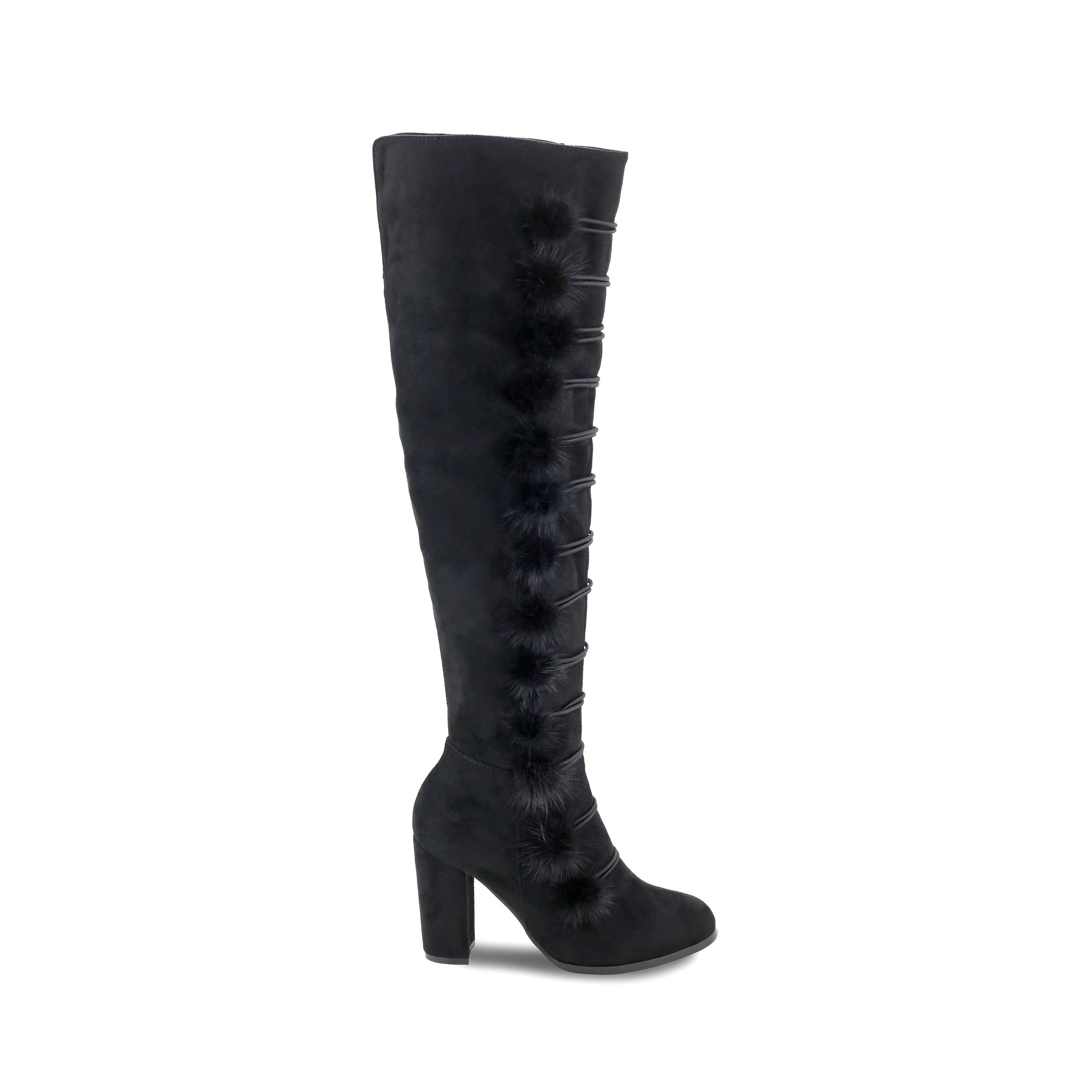 b8ac65a307a Shop Olivia Miller  Terryville  Multi Pom Pom Chunky Heel Over the knee  Boots - Free Shipping Today - Overstock - 17129052