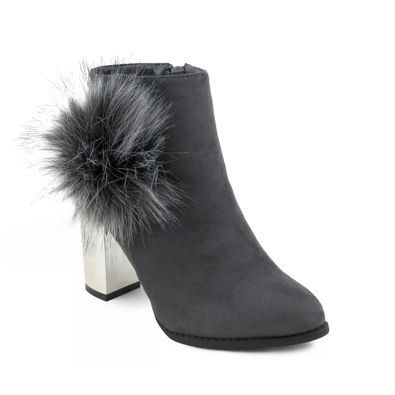 Belmont' Large Fur Pom Chunky Metallic Heel Ankle Booties