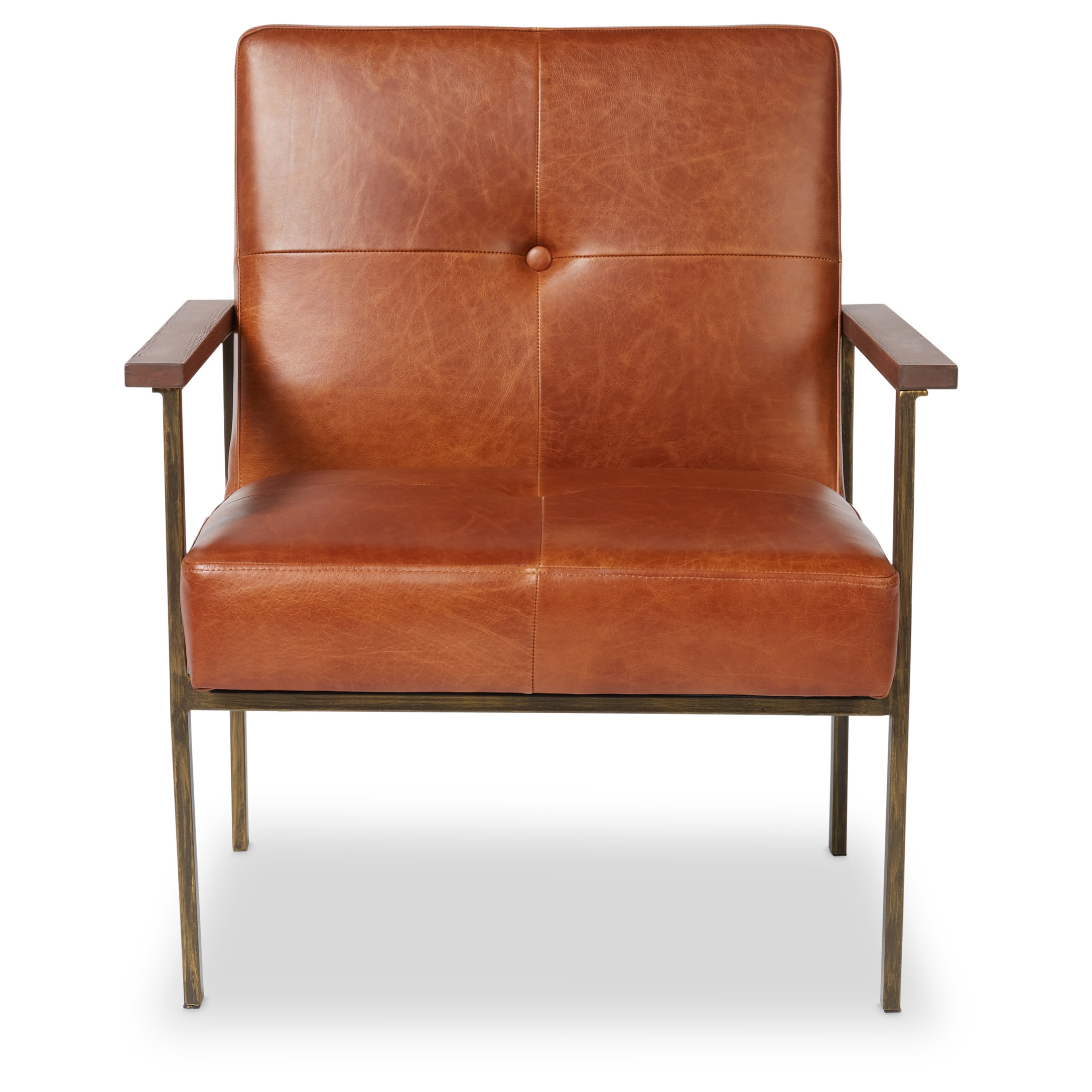 Shop Jasper Laine Retro Steel Tan Leather Armchair   Free Shipping Today    Overstock.com   17135651