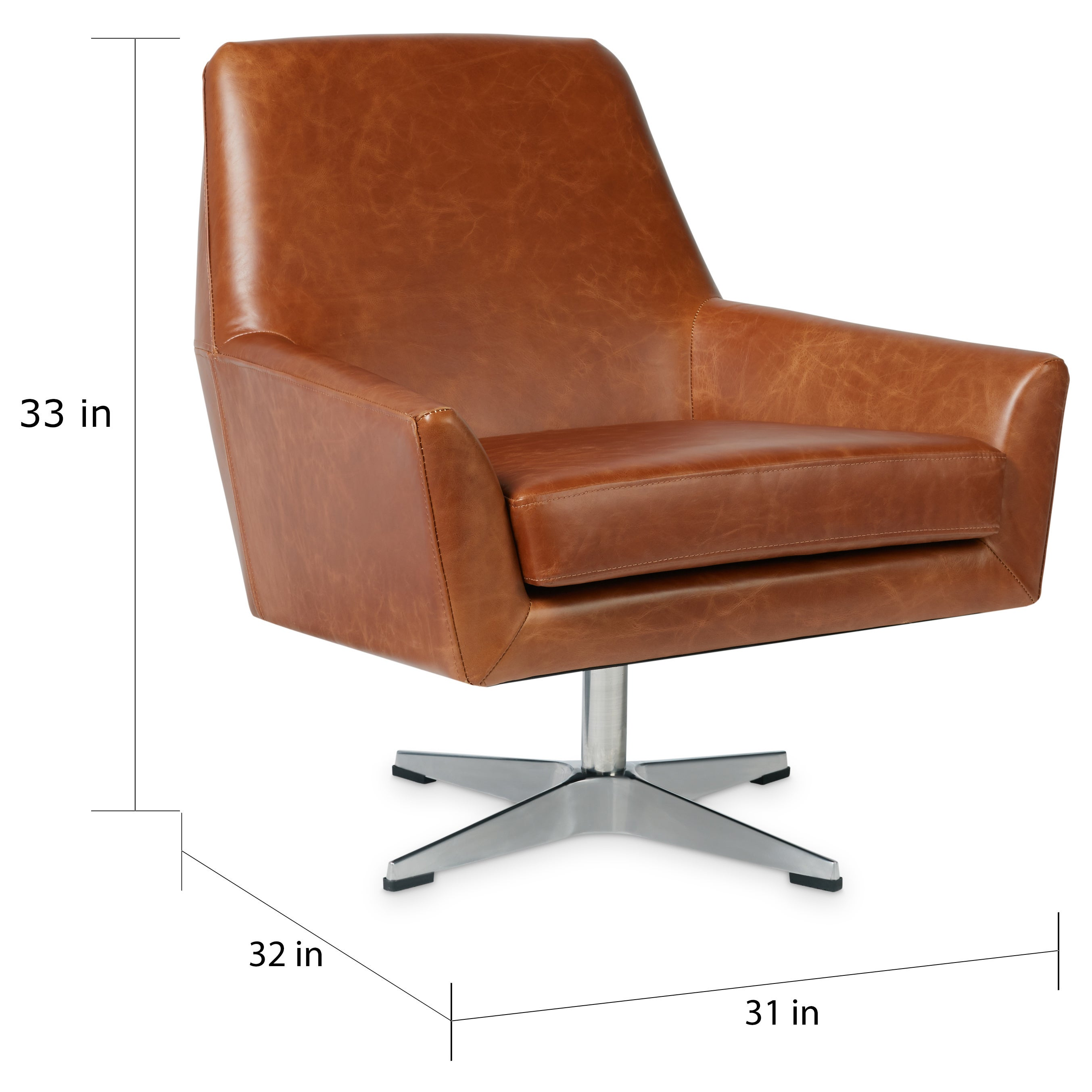 Shop Jasper Laine Lisbon Saddle Leather Swivel Chair - Free Shipping ...
