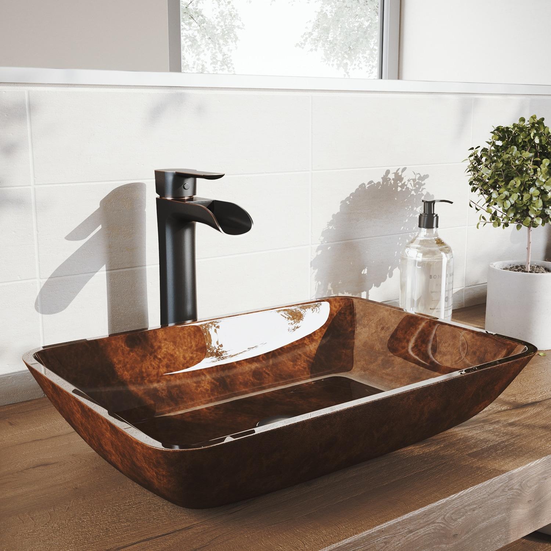 Shop VIGO 18 in. Rectangular Russet Glass Vessel Bathroom Sink Set ...