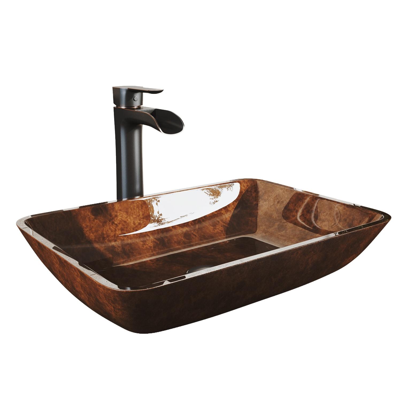 Bathroom Sinks Vig Vgt036bnrnd White Frost Gl Vessel Sink And