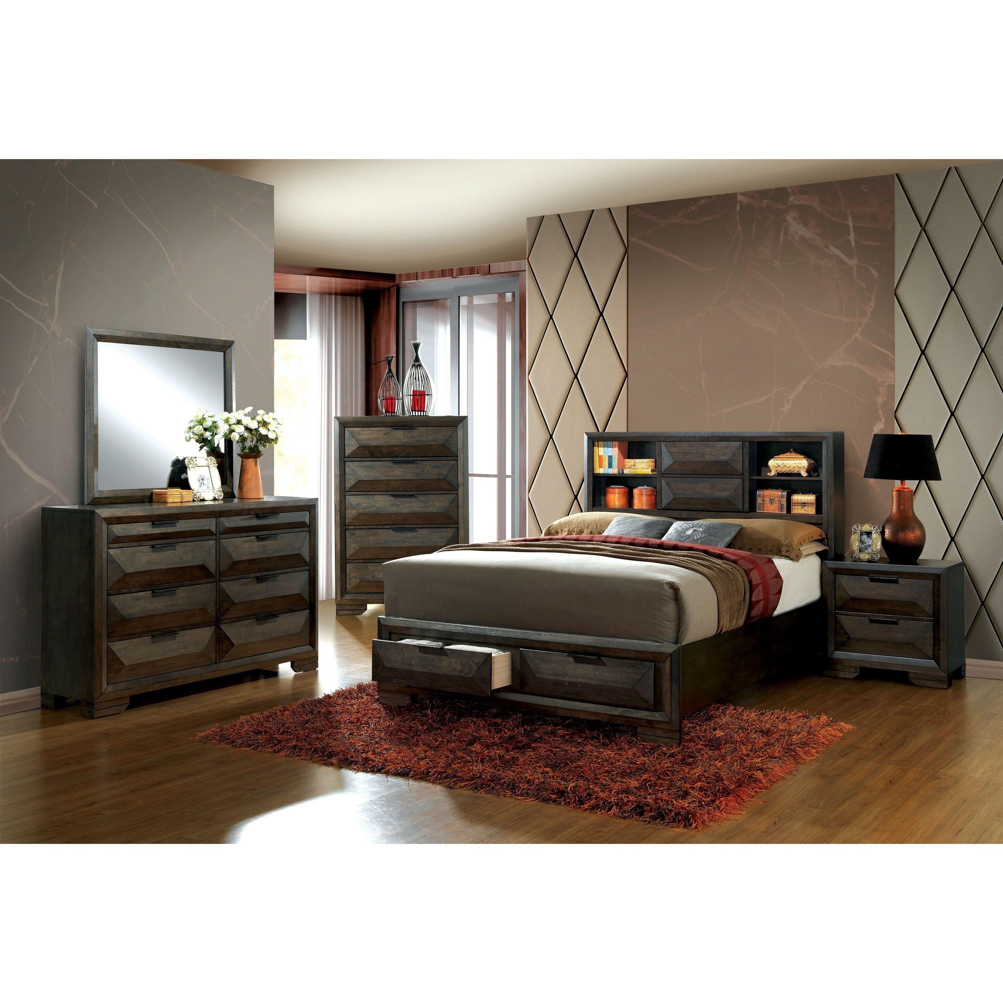 Superbe Stayven Contemporary Espresso Bookcase Headboard 4 Piece Bedroom Set