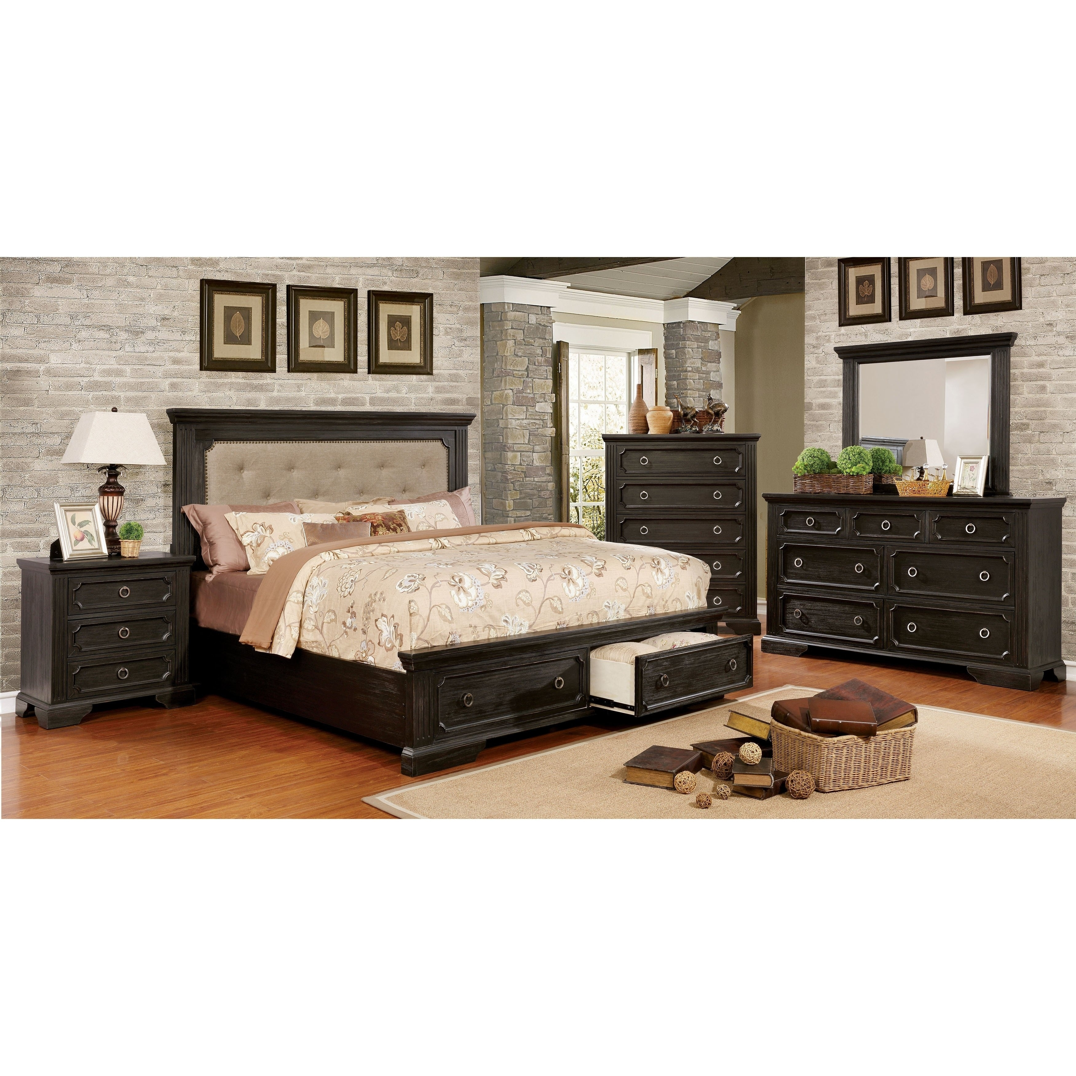 Shop Hollen Transitional Wire-Brushed Black 4-piece Platform Bedroom ...