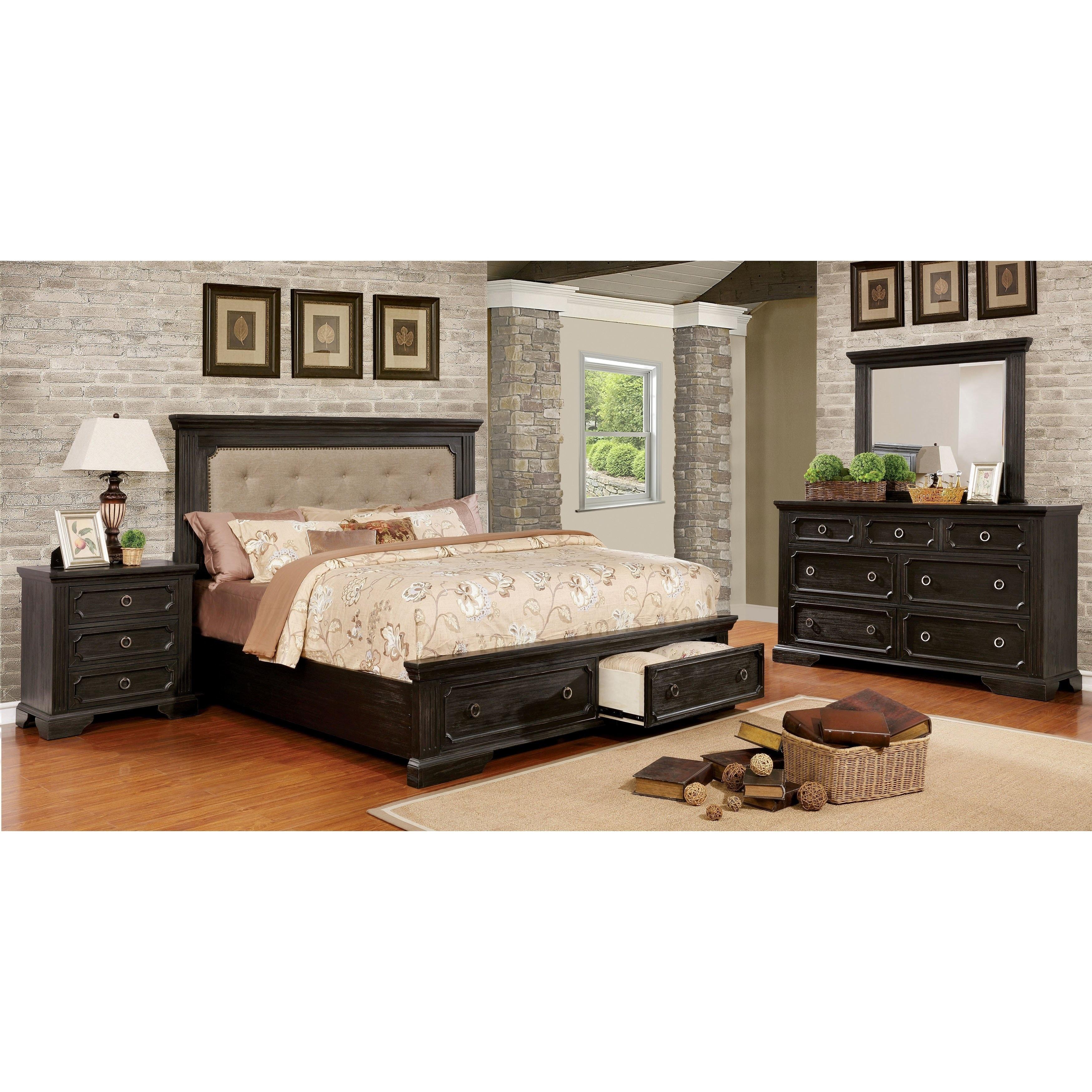 Hollen Transitional Wire-Brushed Black 4-piece Platform Bedroom Set
