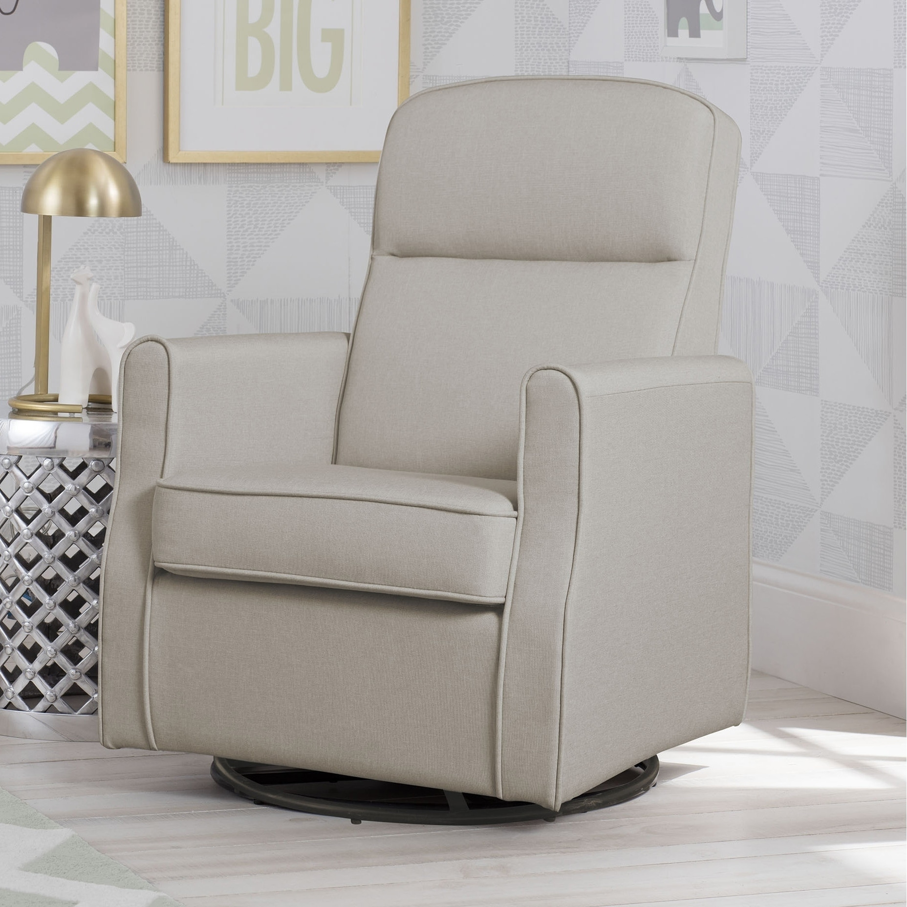 Delta Children Blair Slim Nursery Glider Swivel Rocker Chair Taupe Free Shipping Today 17139146