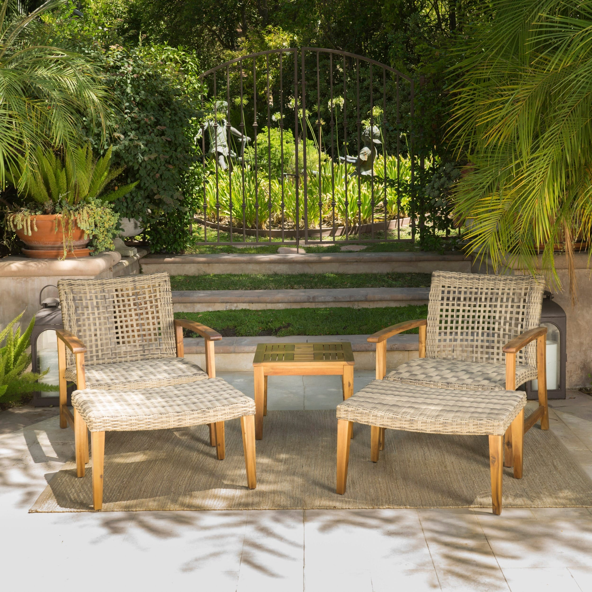 Hampton Outdoor 5 piece Mid Century Wicker Chat Set by Christopher