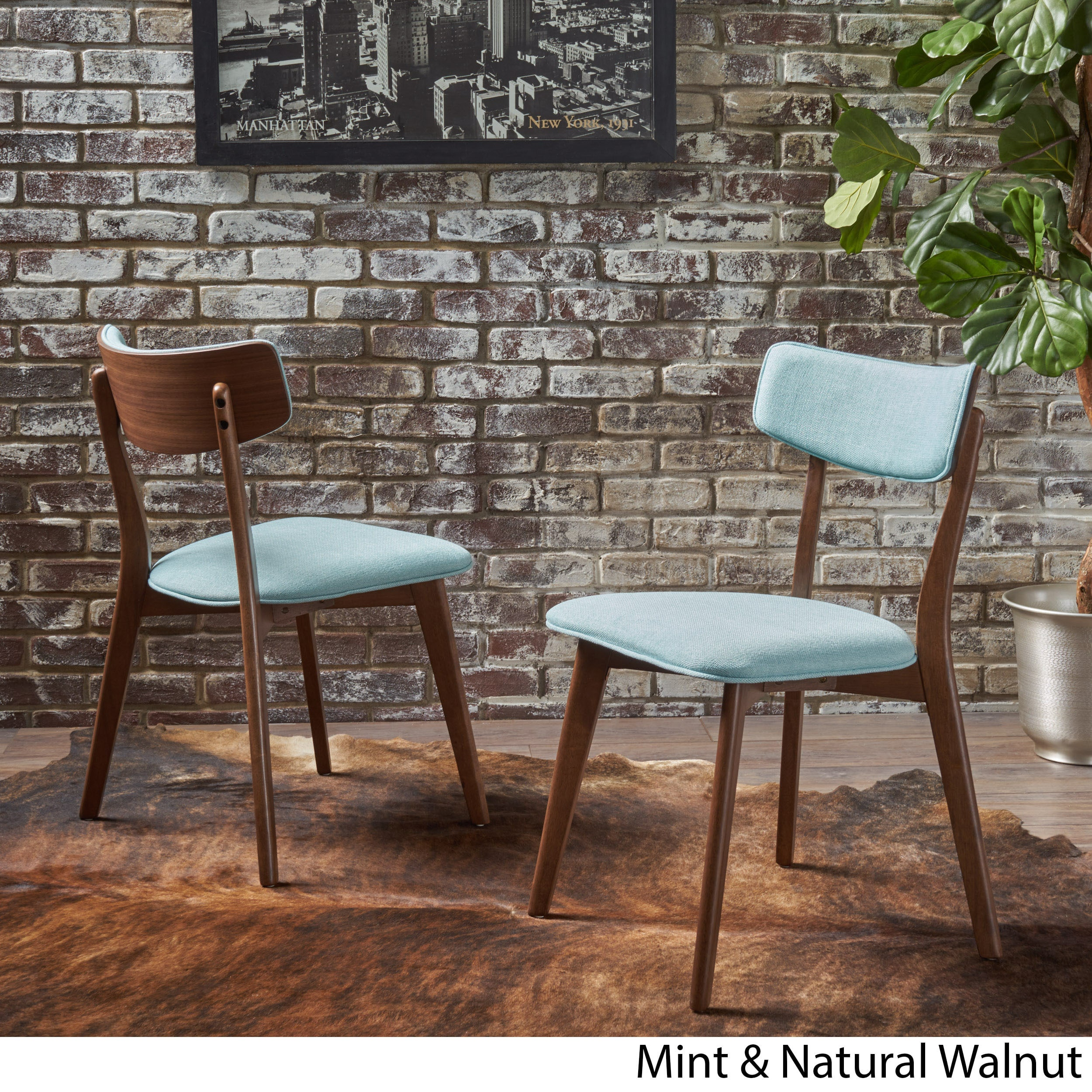Chazz mid century fabric dining chair by christopher knight home set of 2
