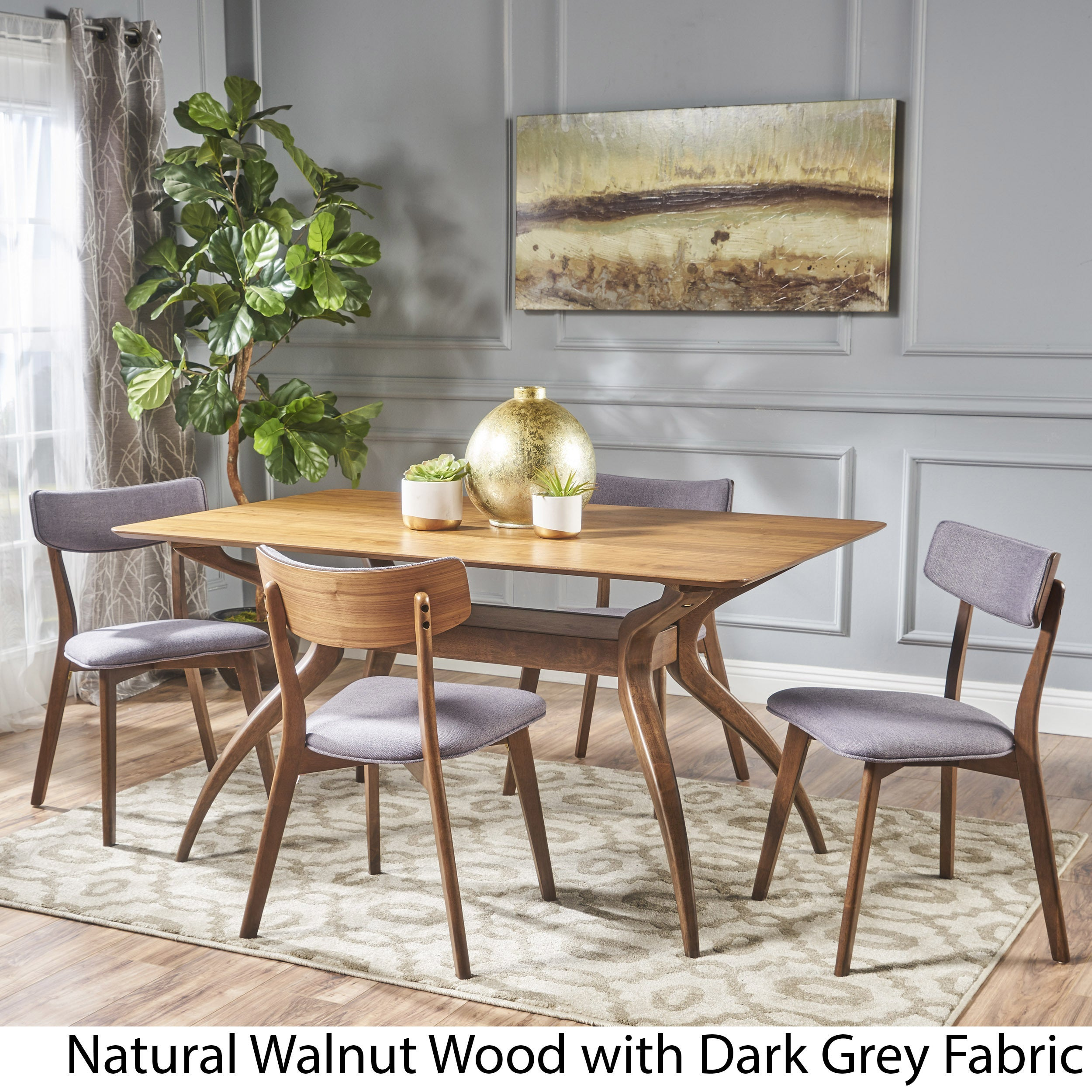 Shop Nissie Mid Century 5 Piece Wood Rectangle Dining Set By Christopher  Knight Home   On Sale   Free Shipping Today   Overstock.com   17156874