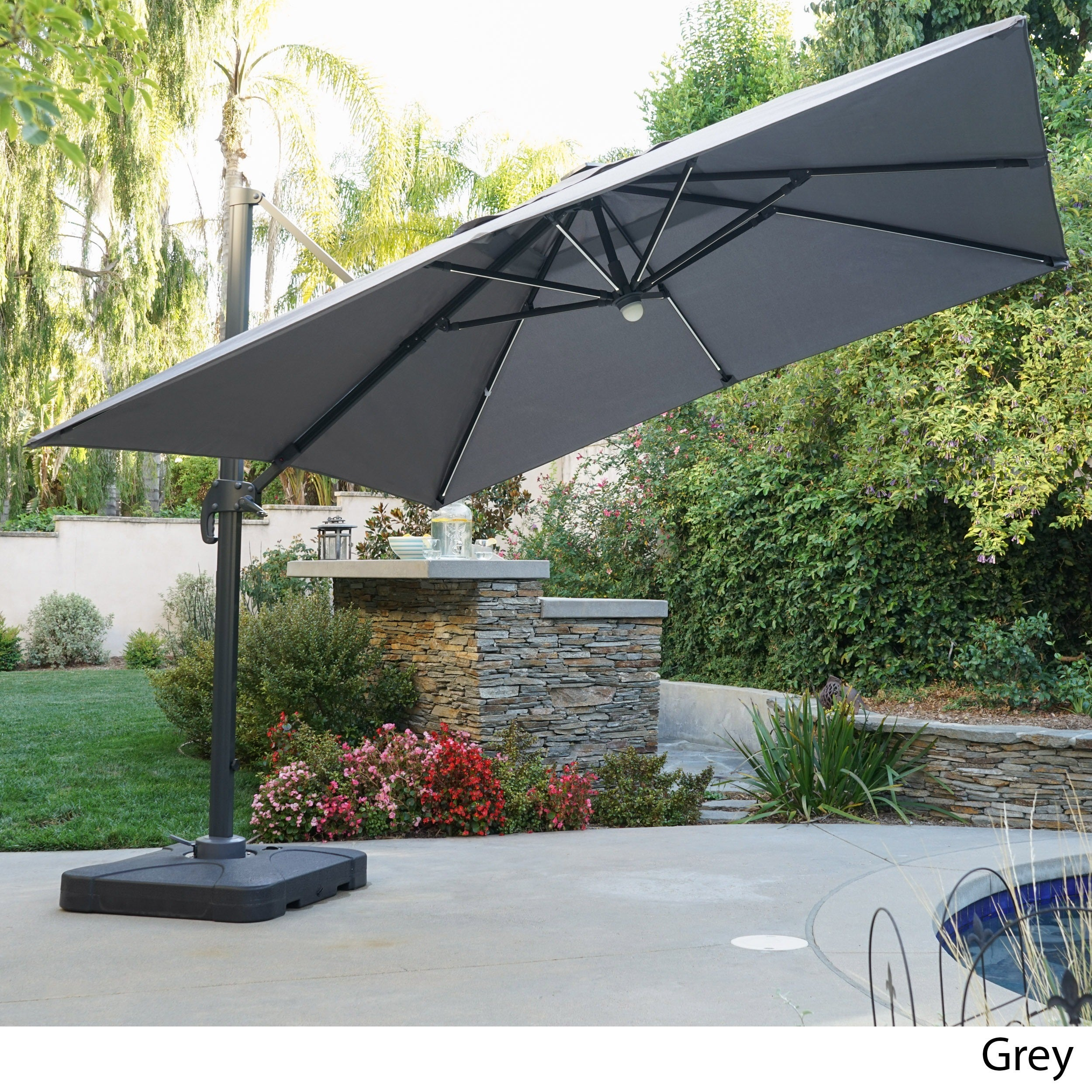 Delray Outdoor 9 7 Ft Canopy Umbrella With Base And Solar Light Strip By Christopher Knight Home