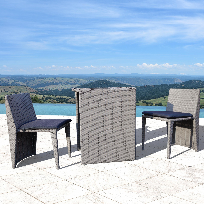 Corvus Delphi 3 piece Grey Wicker Patio Dining Set with Navy Blue