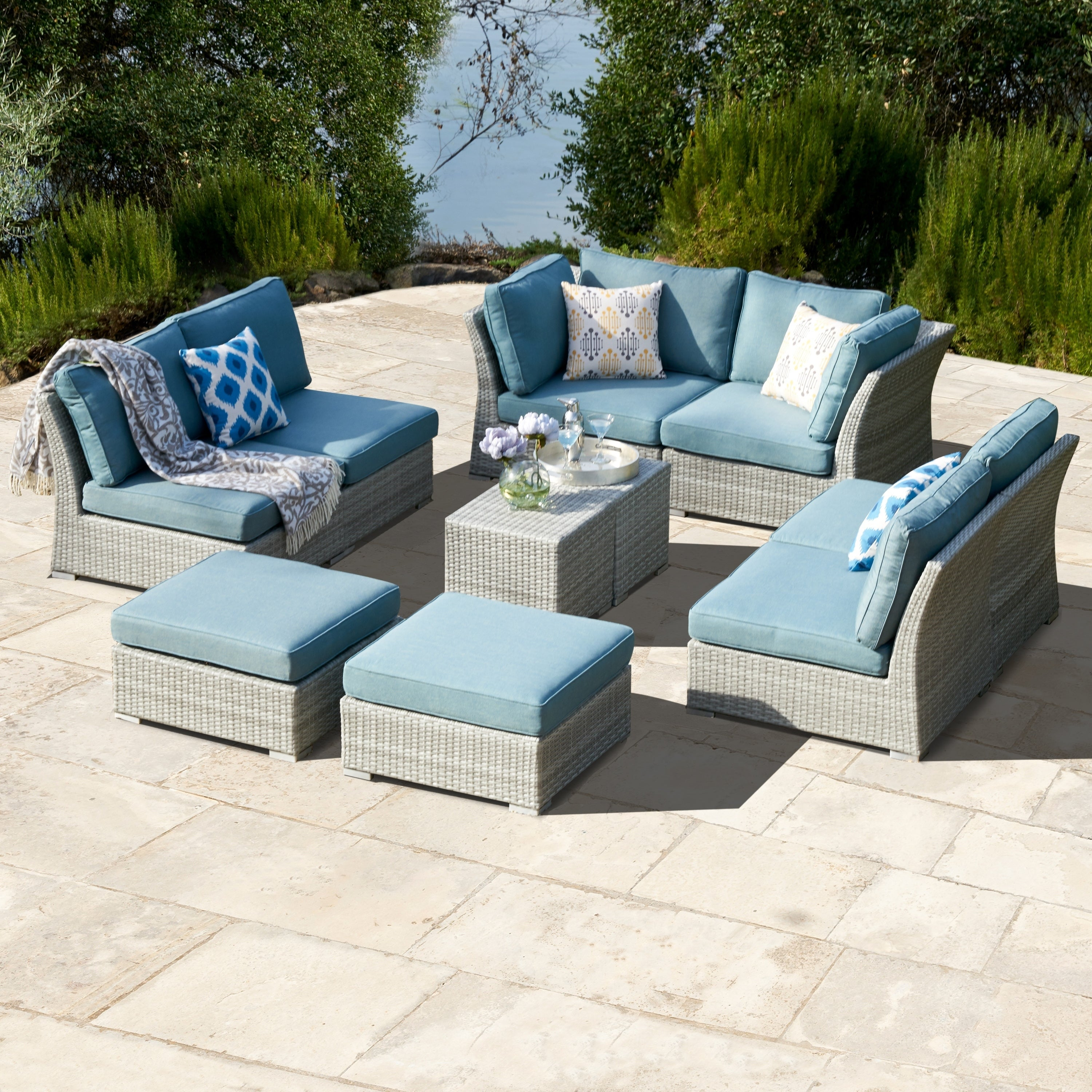 Charmant Shop Corvus 10 Piece Grey Wicker Patio Furniture Set With Blue Cushions    On Sale   Free Shipping Today   Overstock.com   17158238