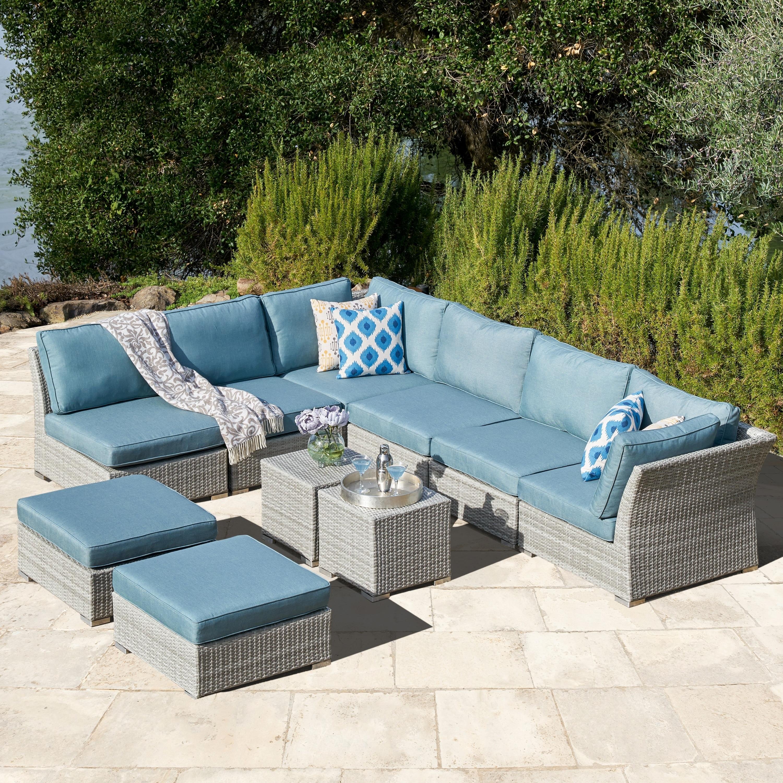 Corvus 10 piece grey wicker patio sectional sofa set with blue cushions