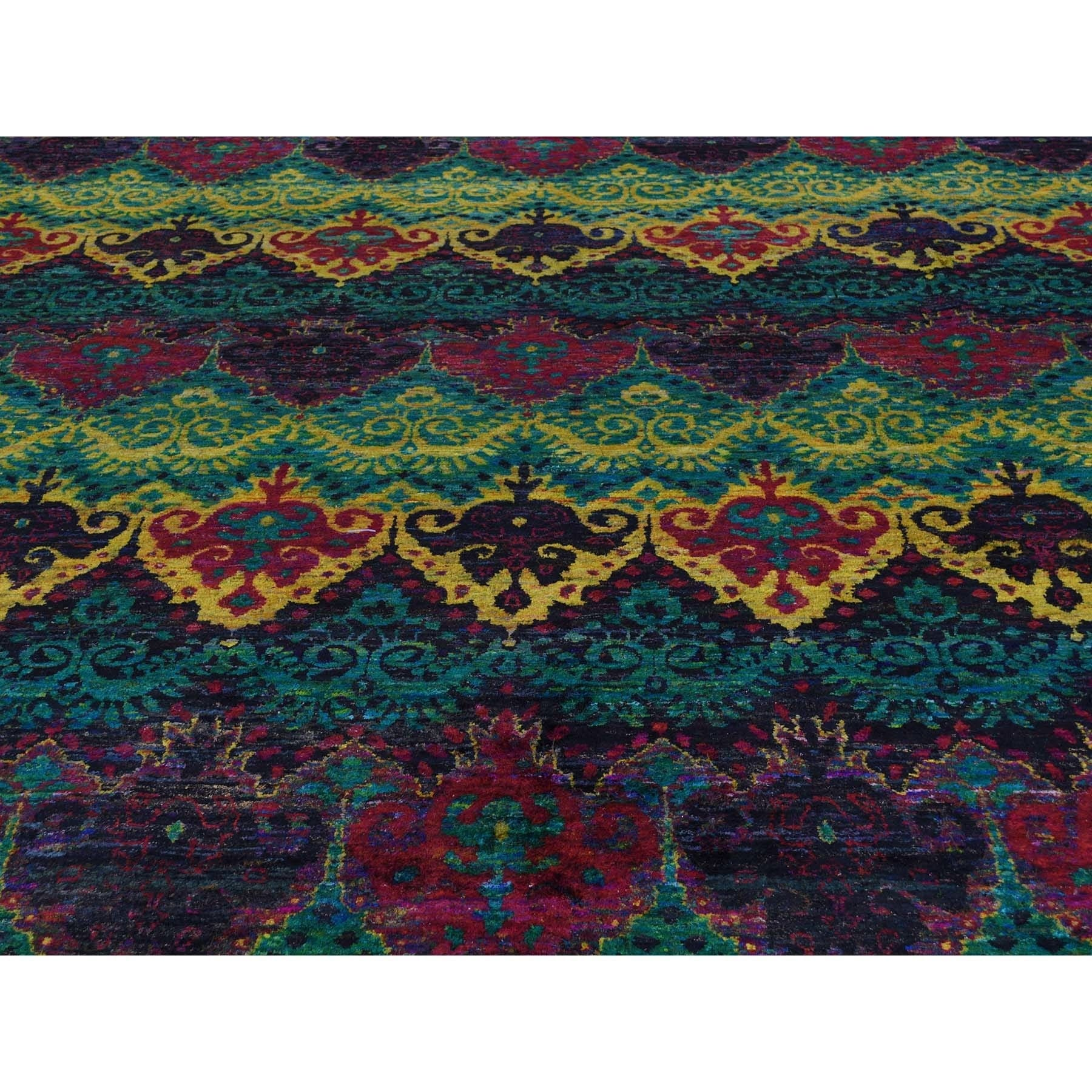 Shahbanu Rugs Sari Silk Ikat Design Hand Knotted Bright Colors Oriental Rug 9 X 12 Free Shipping Today 23422139