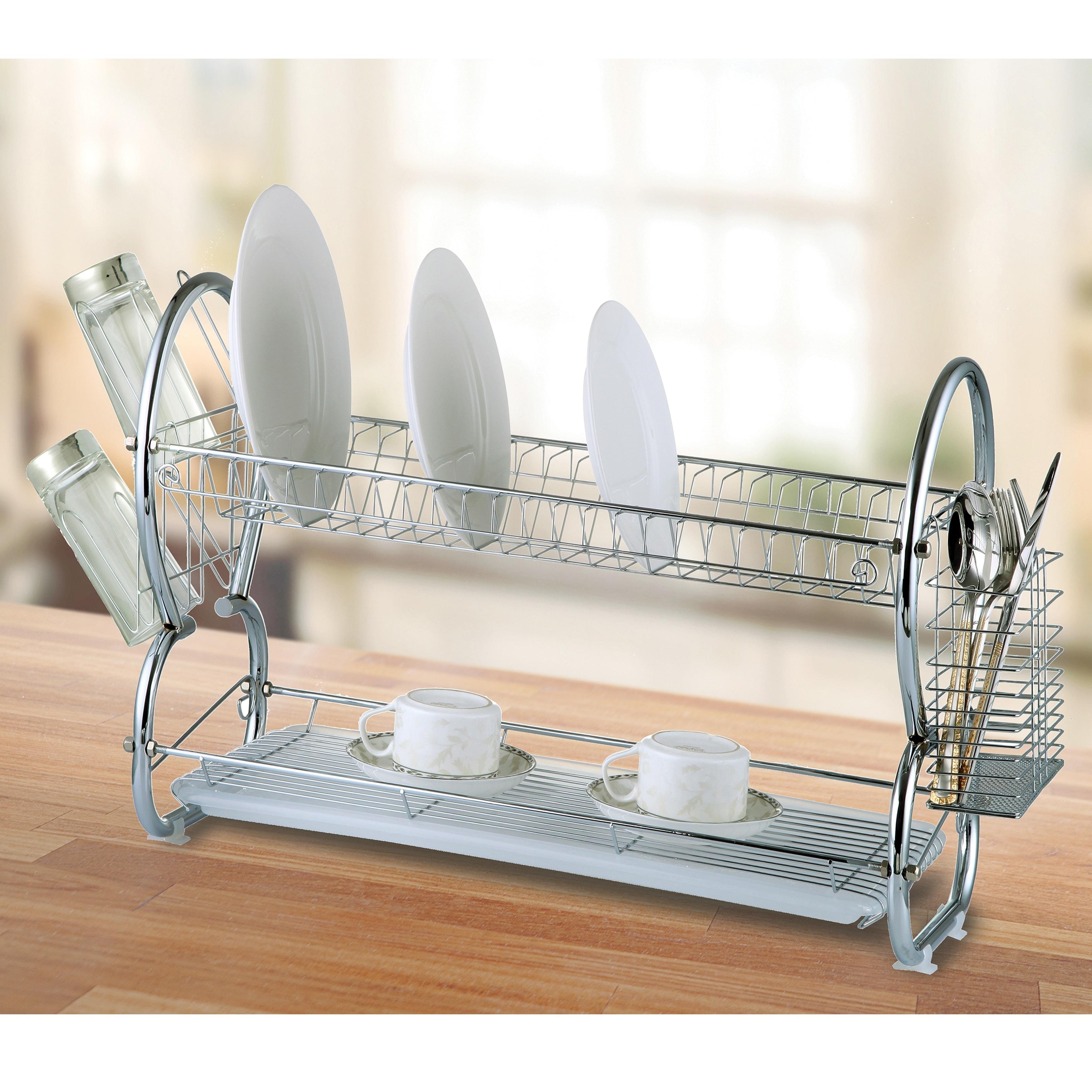 Diamond Home Modern Kitchen Chrome Plated 2 Tier Dish Drying Rack