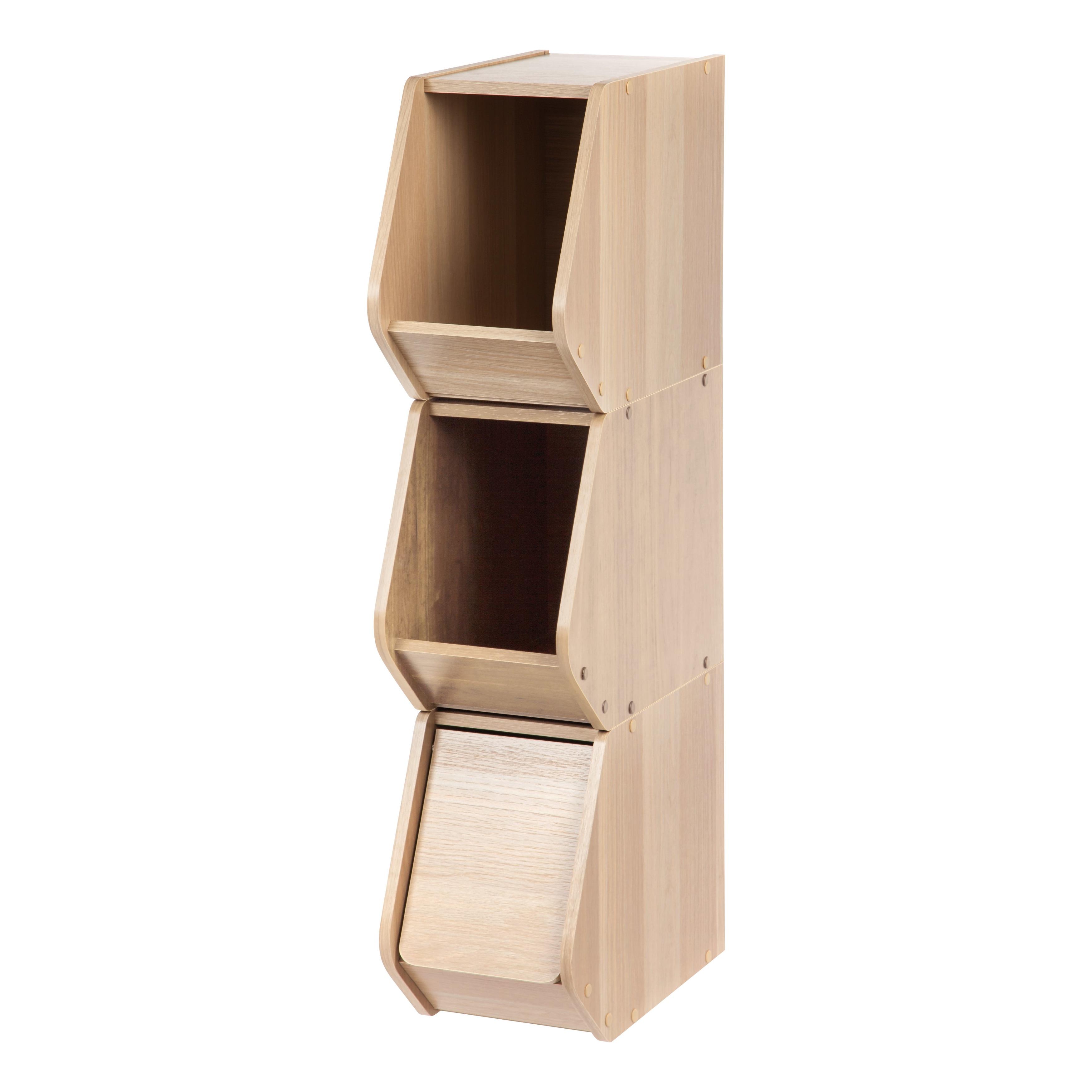 Shop IRIS Modular Wood Stacking Storage Box with Door, Narrow - Free ...
