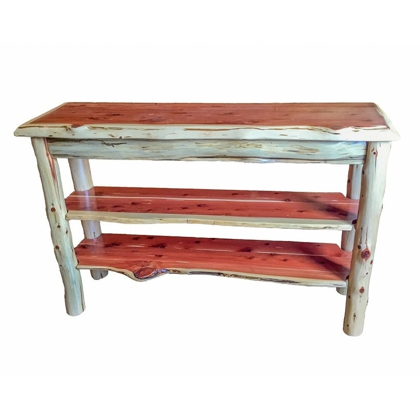Shop Rustic Red Cedar Log TV Stand Or Sofa Table   Amish Made In The USA    Free Shipping Today   Overstock.com   17158972