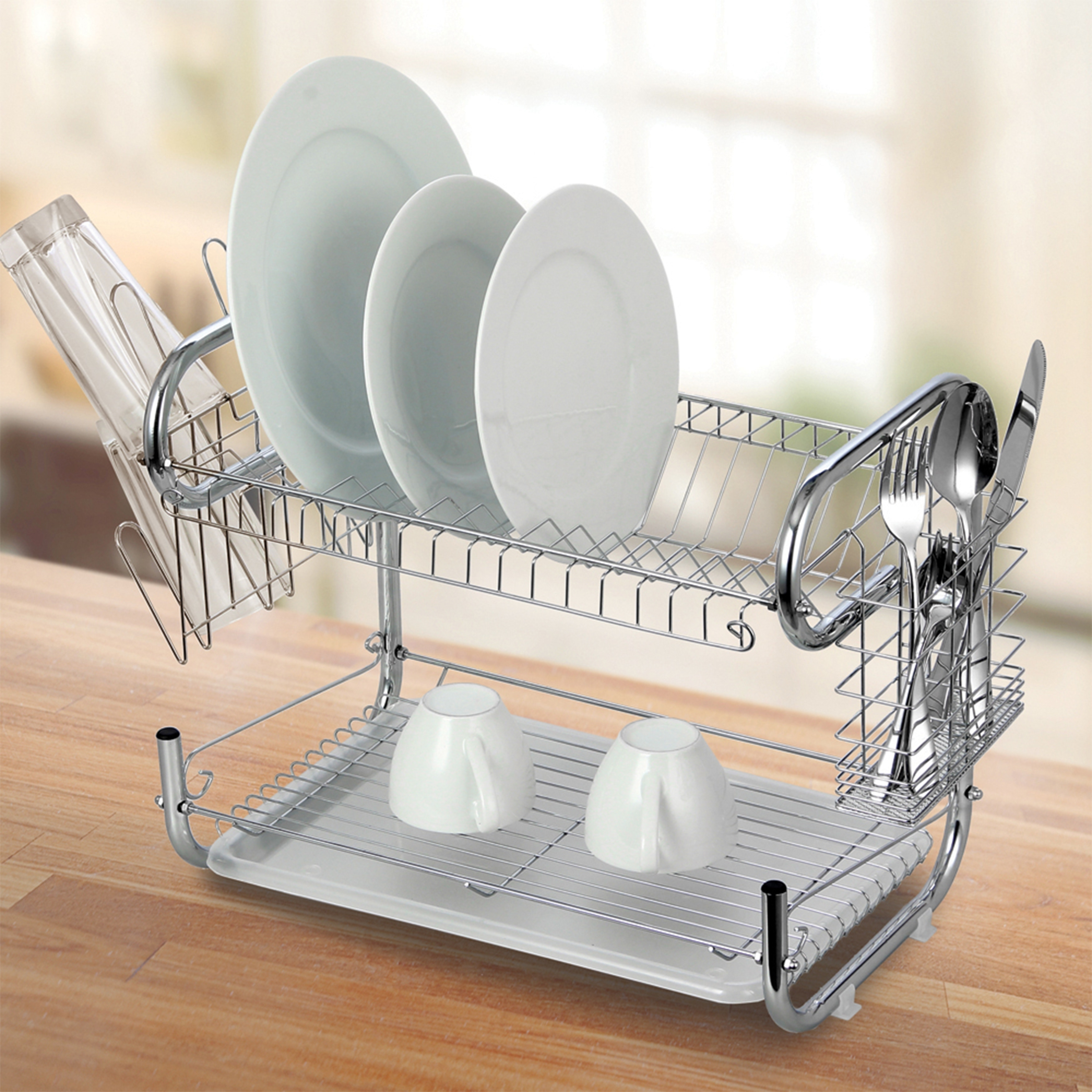 Modern Kitchen Chrome Plated 2 Tier Dish Drying Rack and Draining