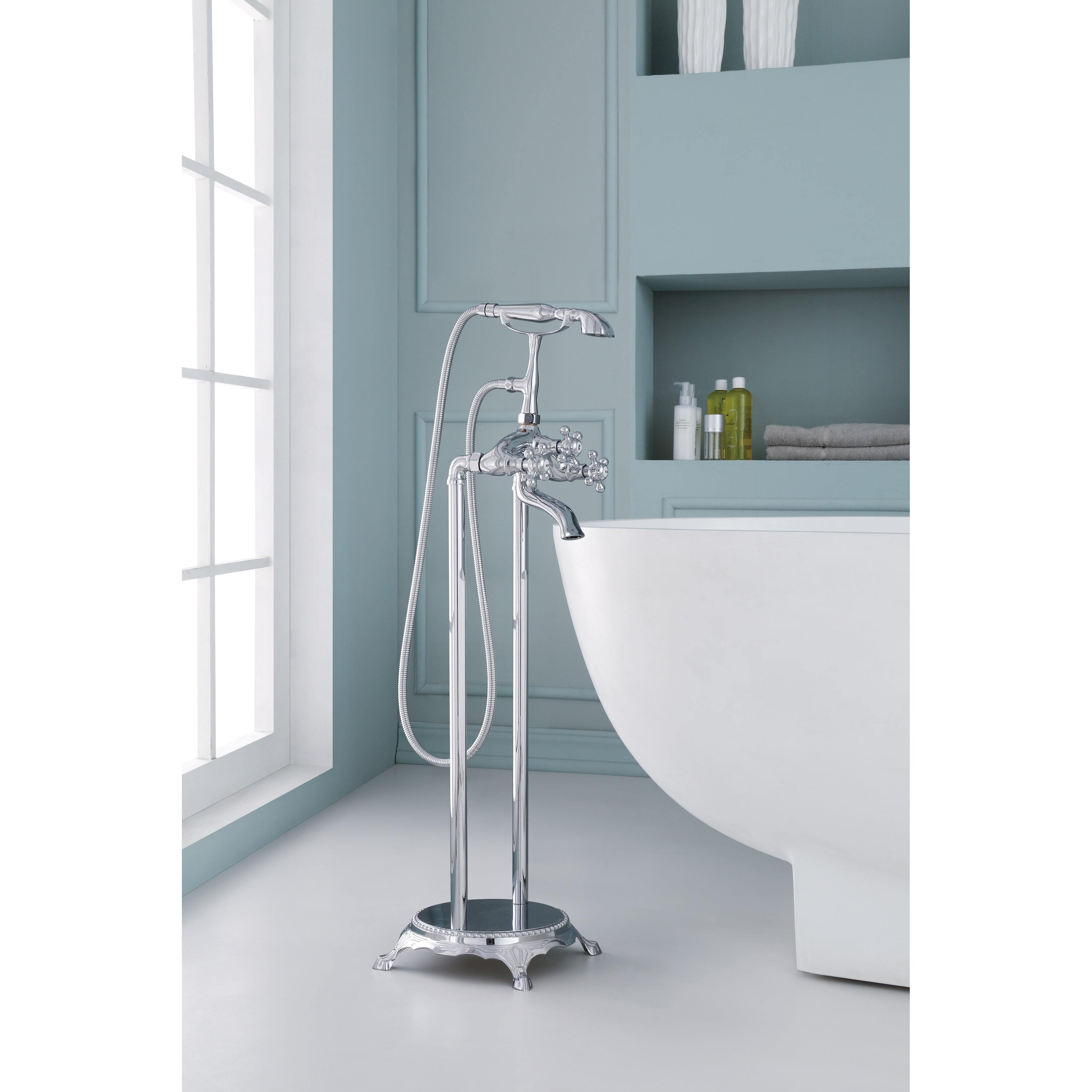 Shop Ariel 3-Handle Freestanding Claw Foot Tub Faucet with Hand ...