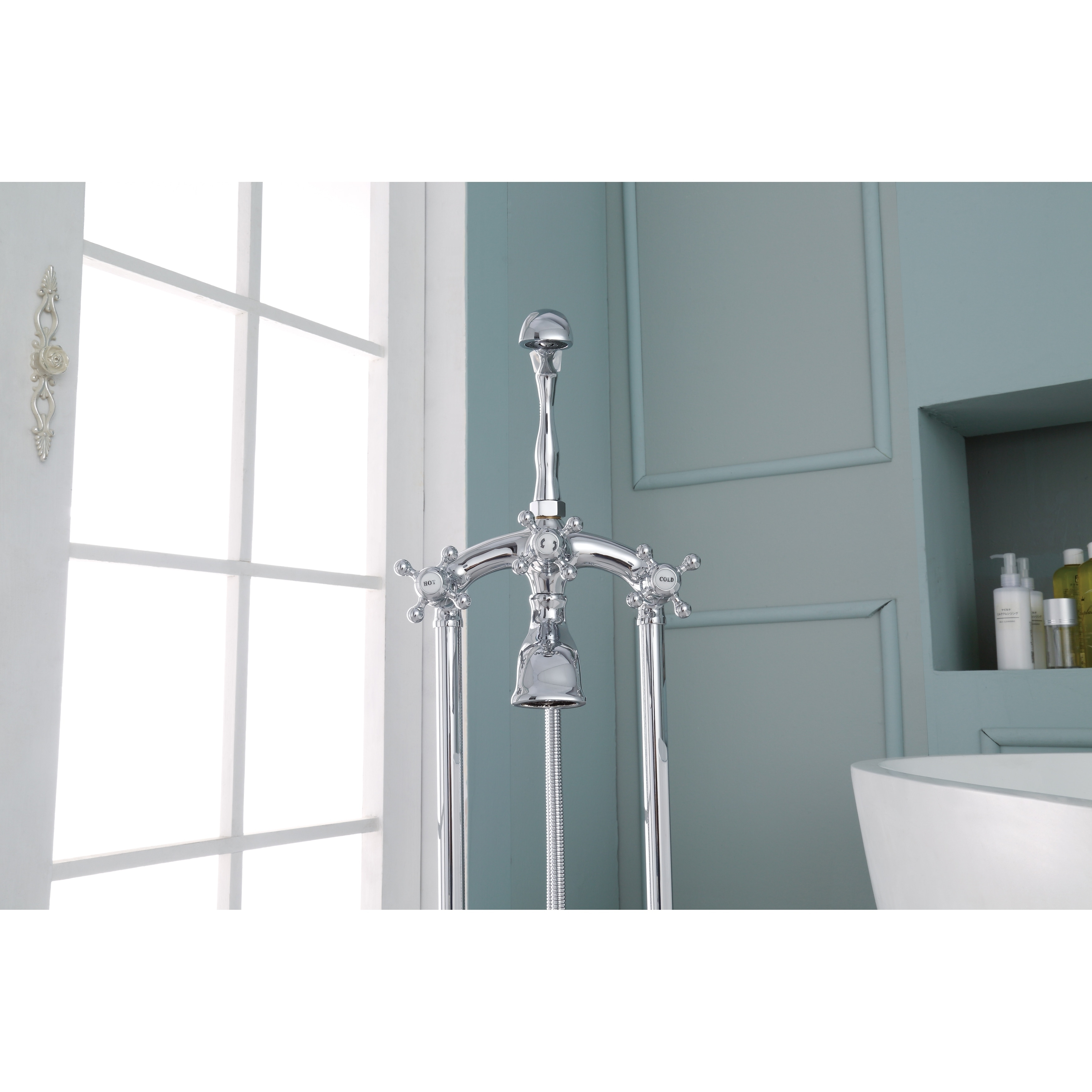 Ariel 3-Handle Freestanding Clawfoot Tub Faucet with Hand Shower ...