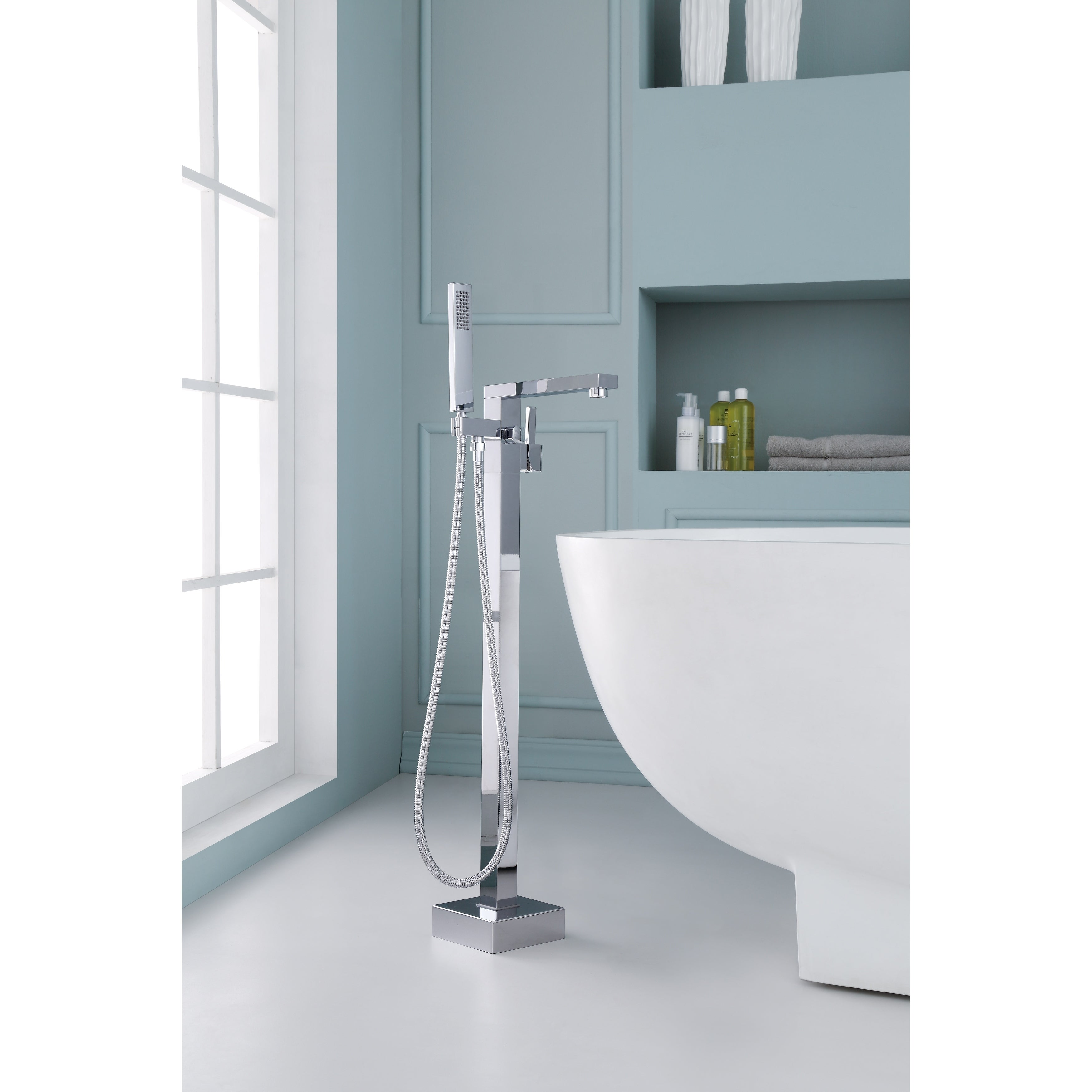 Ariel Single-Handle Freestanding Roman Tub Faucet with Hand Shower ...