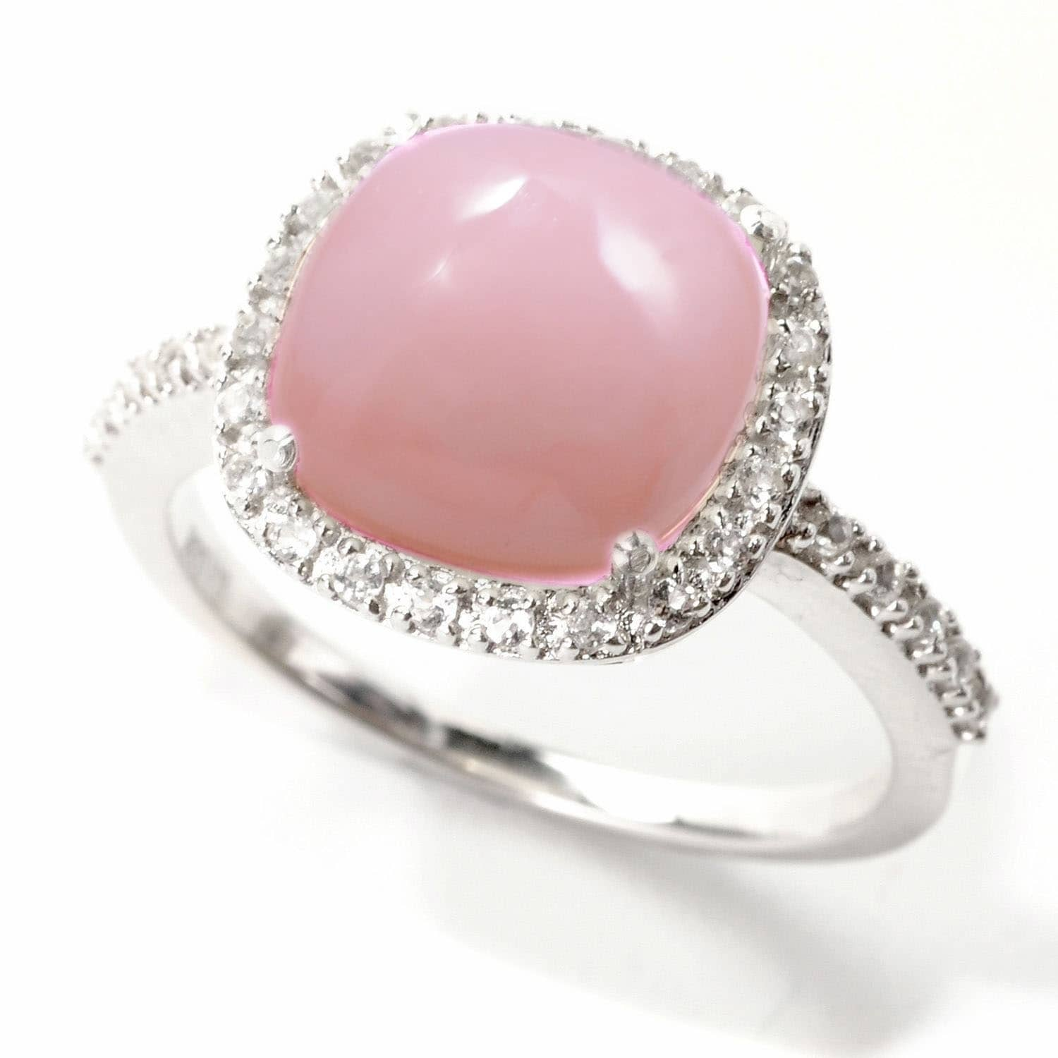 Shop Sterling Silver 3.11ct Pink Opal and White Topaz Halo Ring - On ...