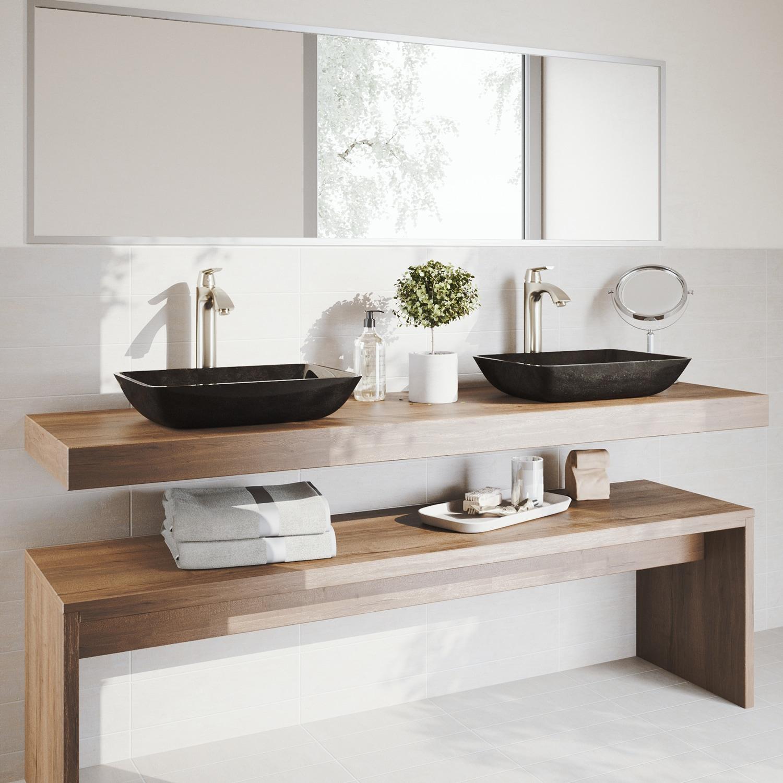 Shop VIGO Rectangular Gray Onyx Glass Vessel Bathroom Sink Set With ...
