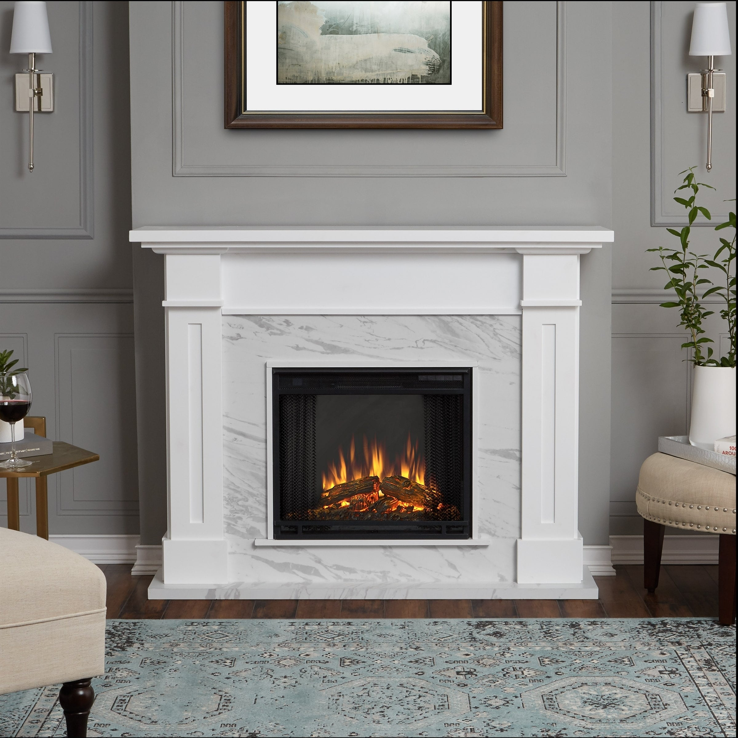 Kipling Electric Fireplace White Marble By Real Flame Free Shipping Today 17178385