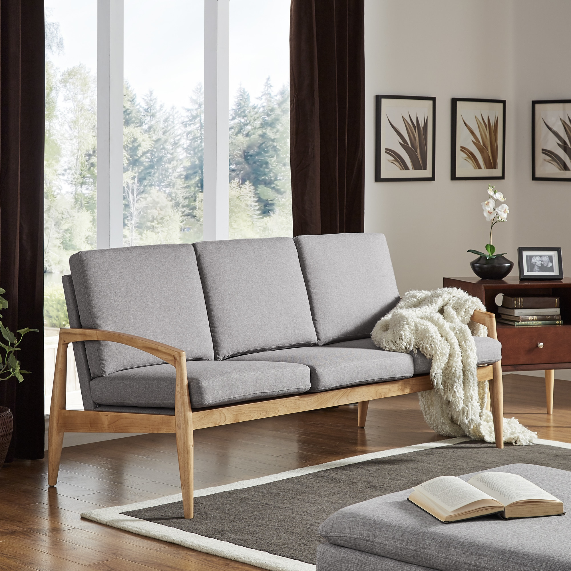 Grayson Mid-Century Curved Wood Arm Sofa by iNSPIRE Q Modern - Free  Shipping Today - Overstock.com - 23440478