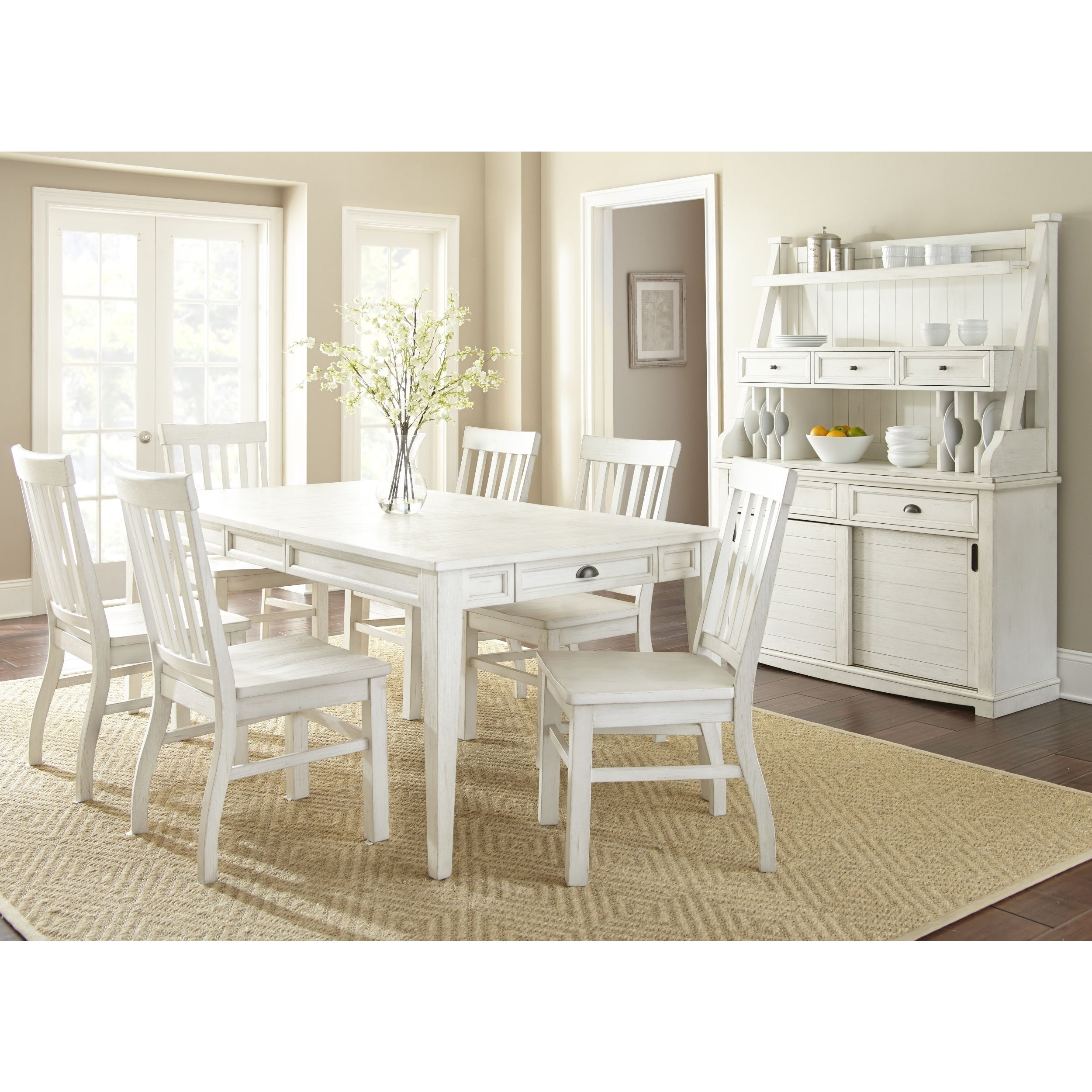 Shop Cottonville Antique White Farmhouse Dining Set With Chairs by ...