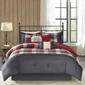 Madison Park Pioneer Red 7-piece Printed Brushed Herringbone Comforter Set