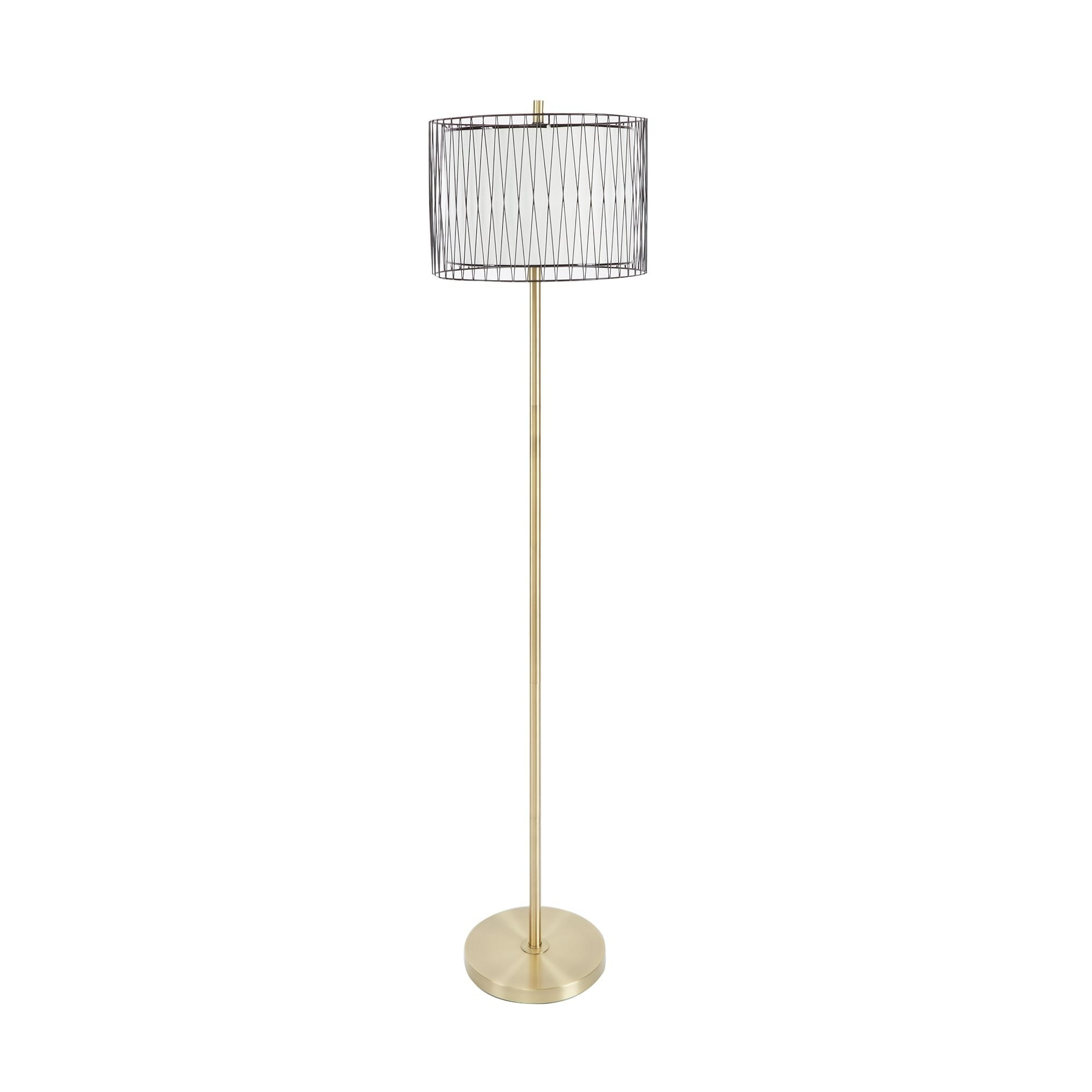 Roxie Floor Lamp with Wire Cage Accent - Free Shipping Today ...