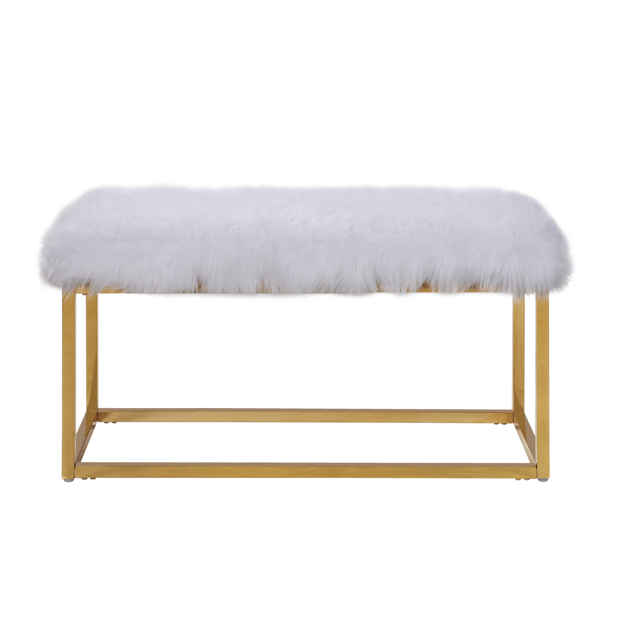 Chic Home Carolyn Fur Chrome Metal Frame Modern Luxe Ottoman
