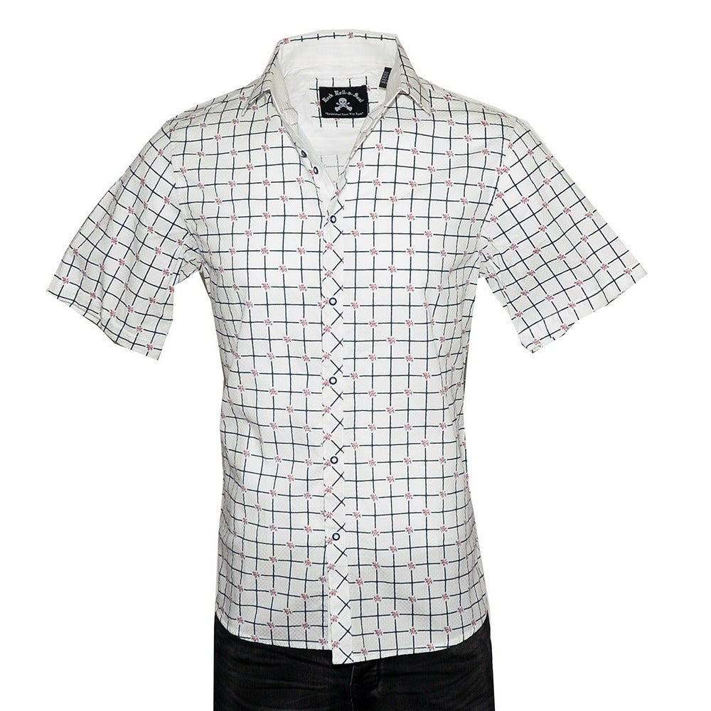Shop Mens Short Sleeve Casual Geometric Design Fashion Button Up